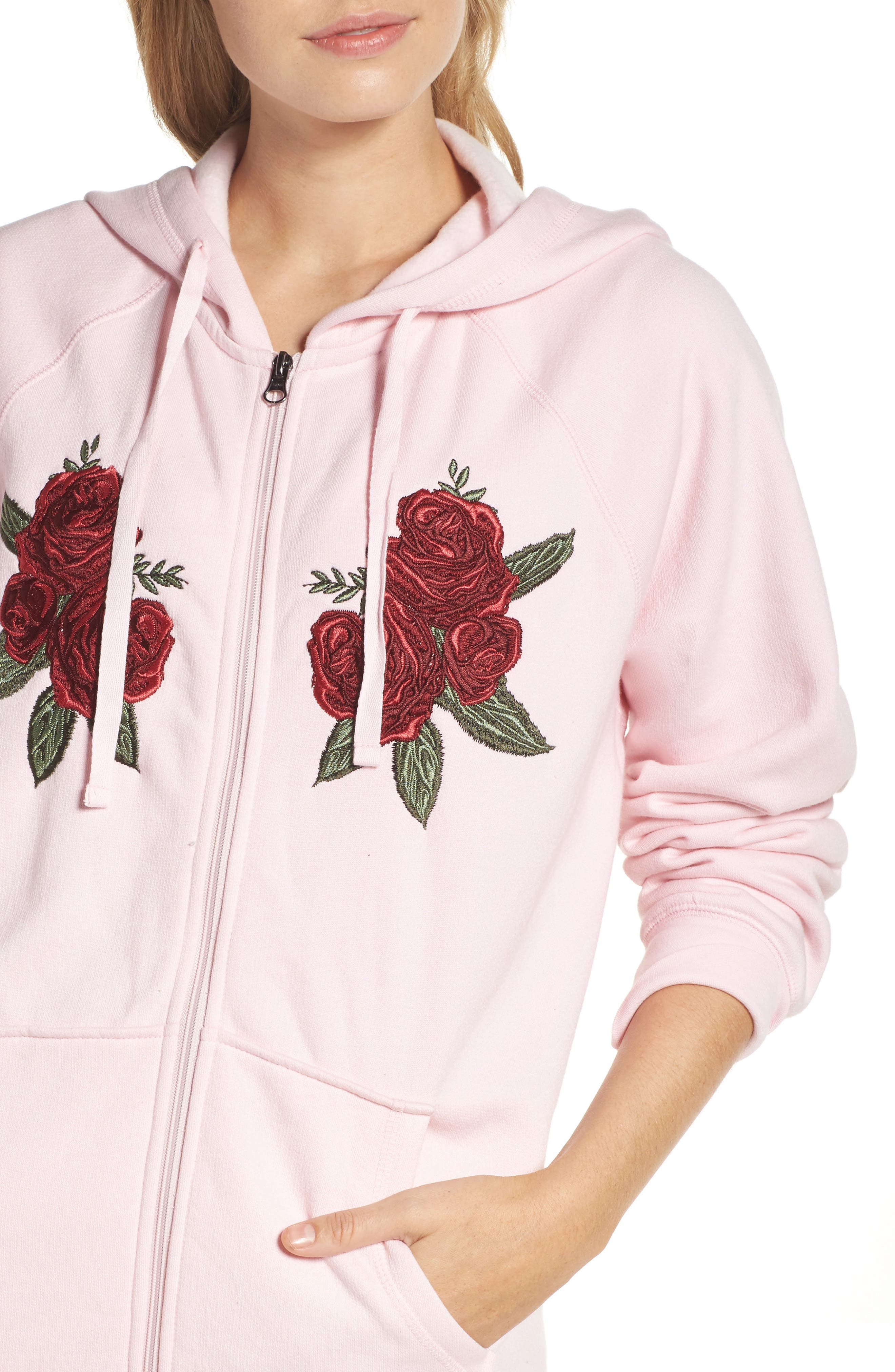 Blonde Embroidered Zip Hoodie,                             Alternate thumbnail 4, color,                             650