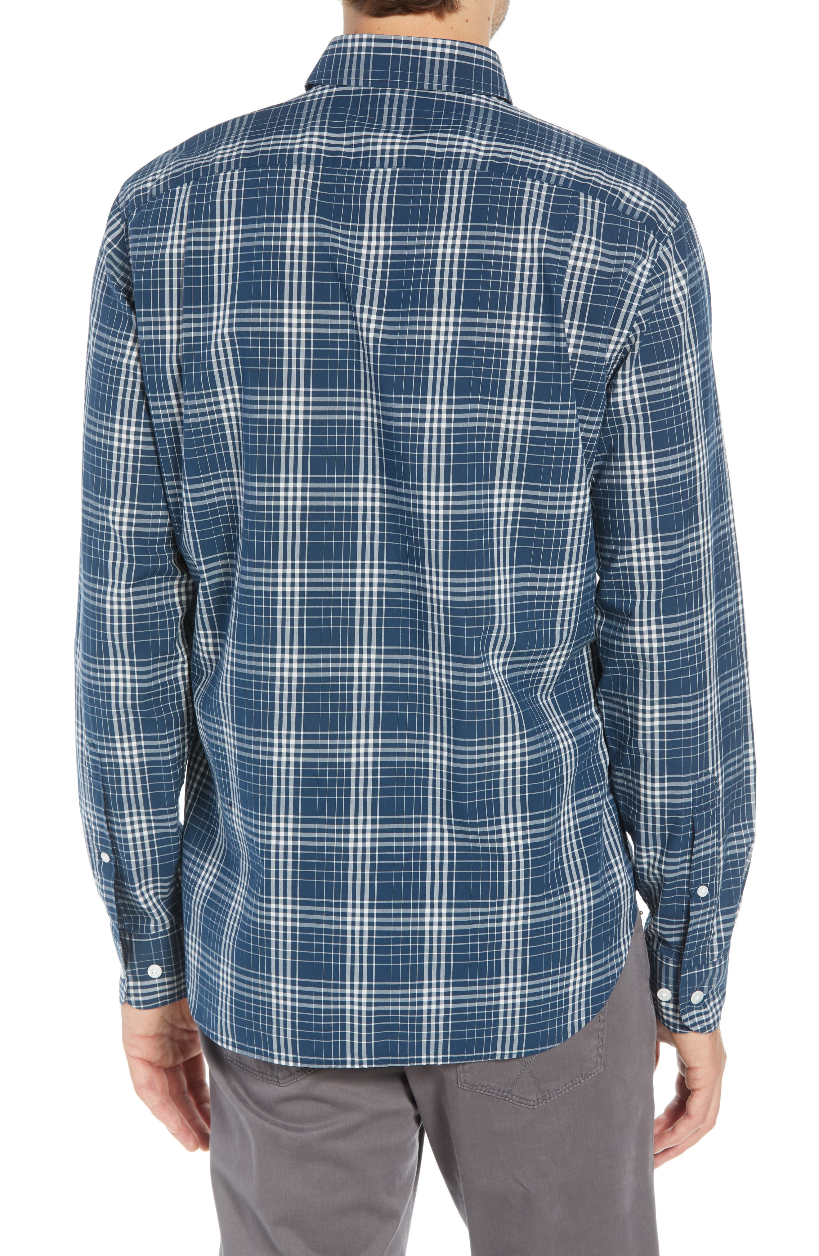 Summerweight Slim Fit Plaid Sport Shirt,                             Alternate thumbnail 3, color,                             400