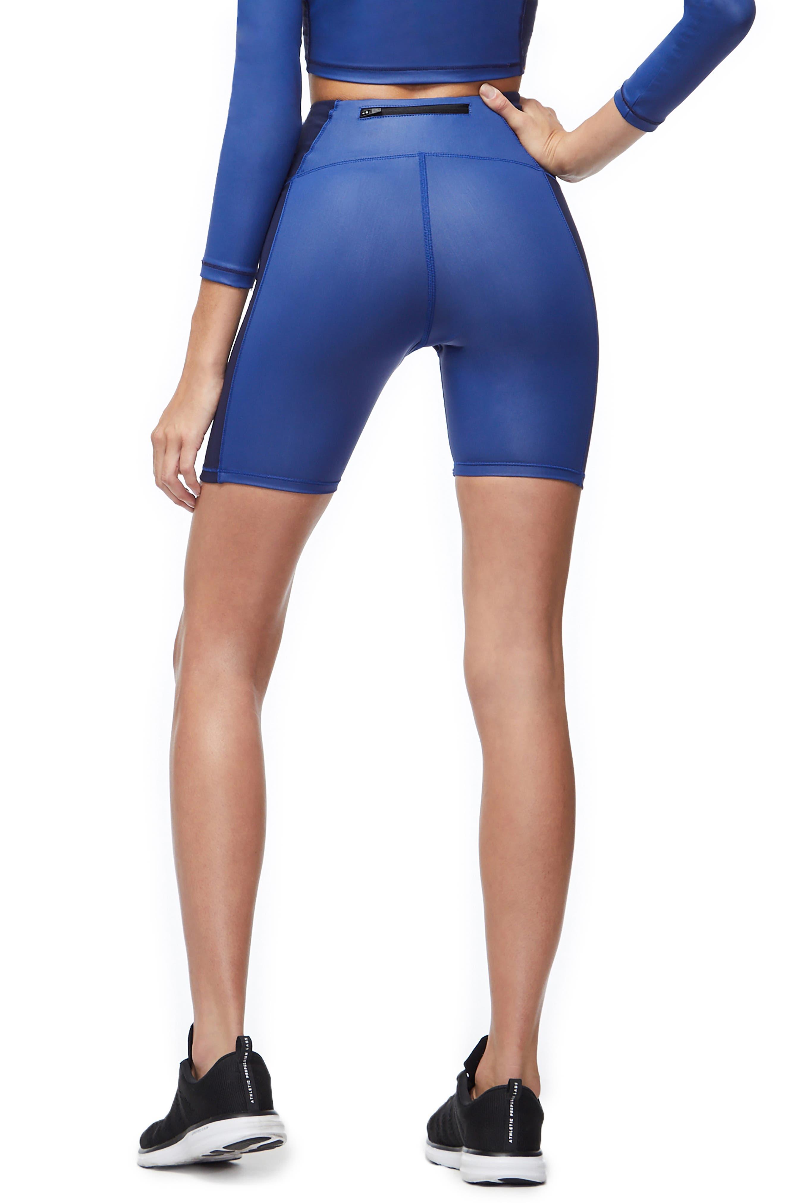 High Waist Biker Shorts,                             Alternate thumbnail 3, color,                             BLUE001