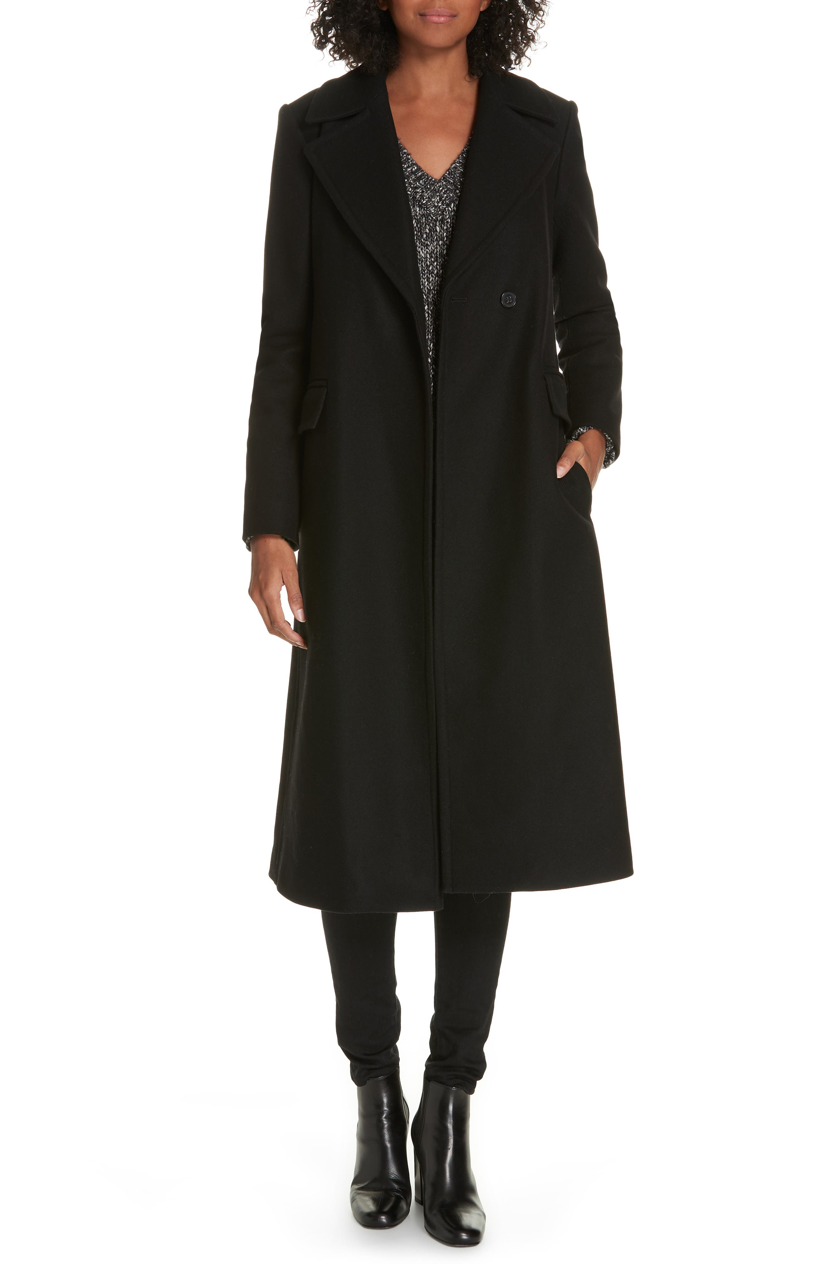 Bria Belted Long Wool Blend Coat by Theory