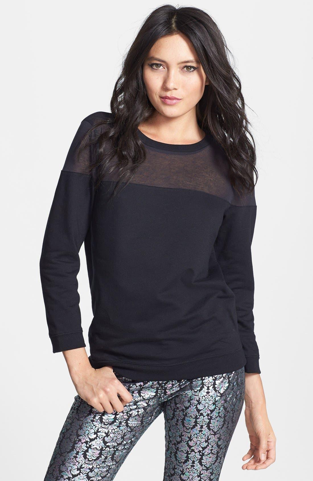 Sheer Yoke Sweatshirt,                         Main,                         color, 001