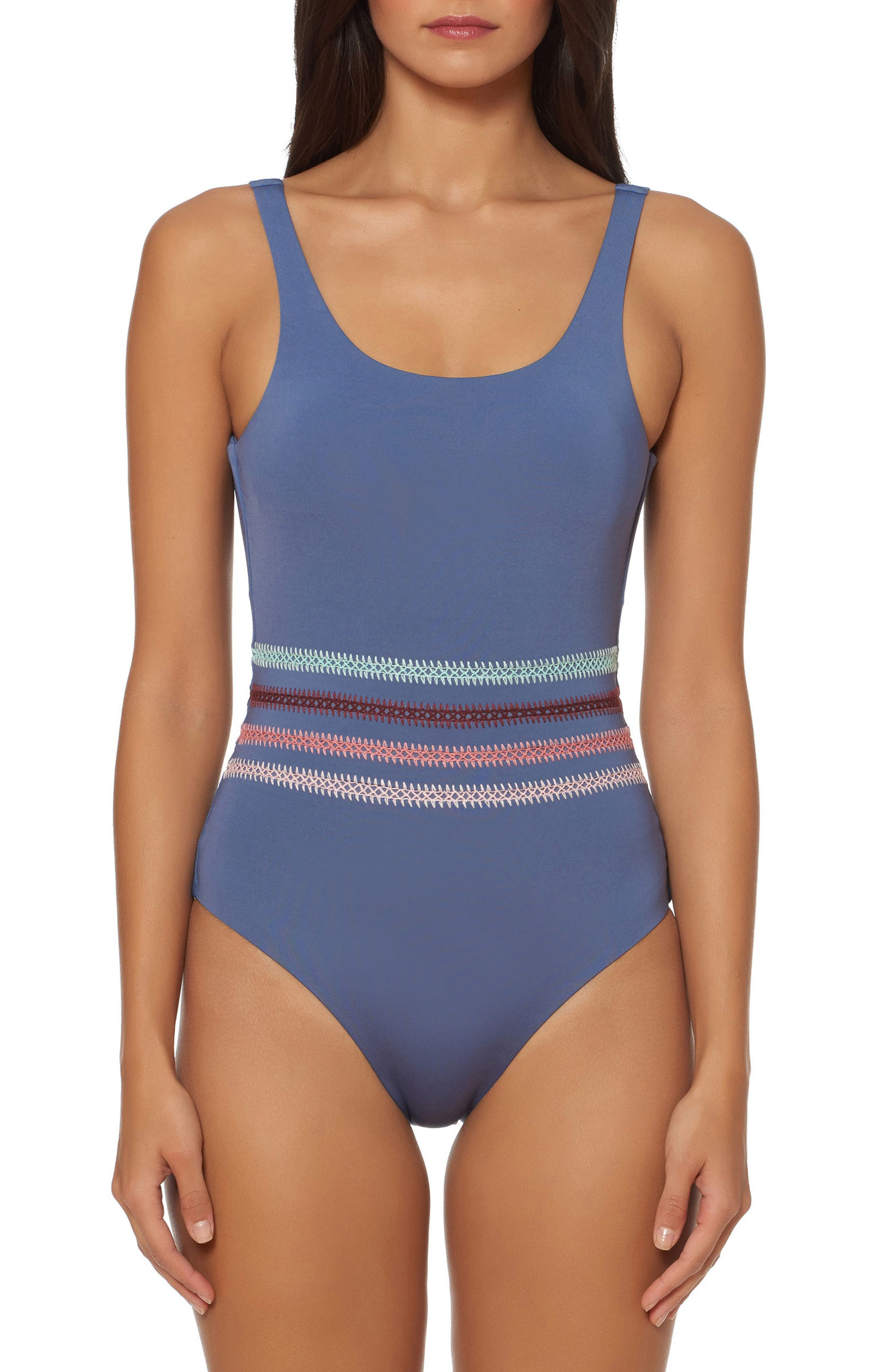 Embroidered One-Piece Swimsuit,                         Main,                         color, 030