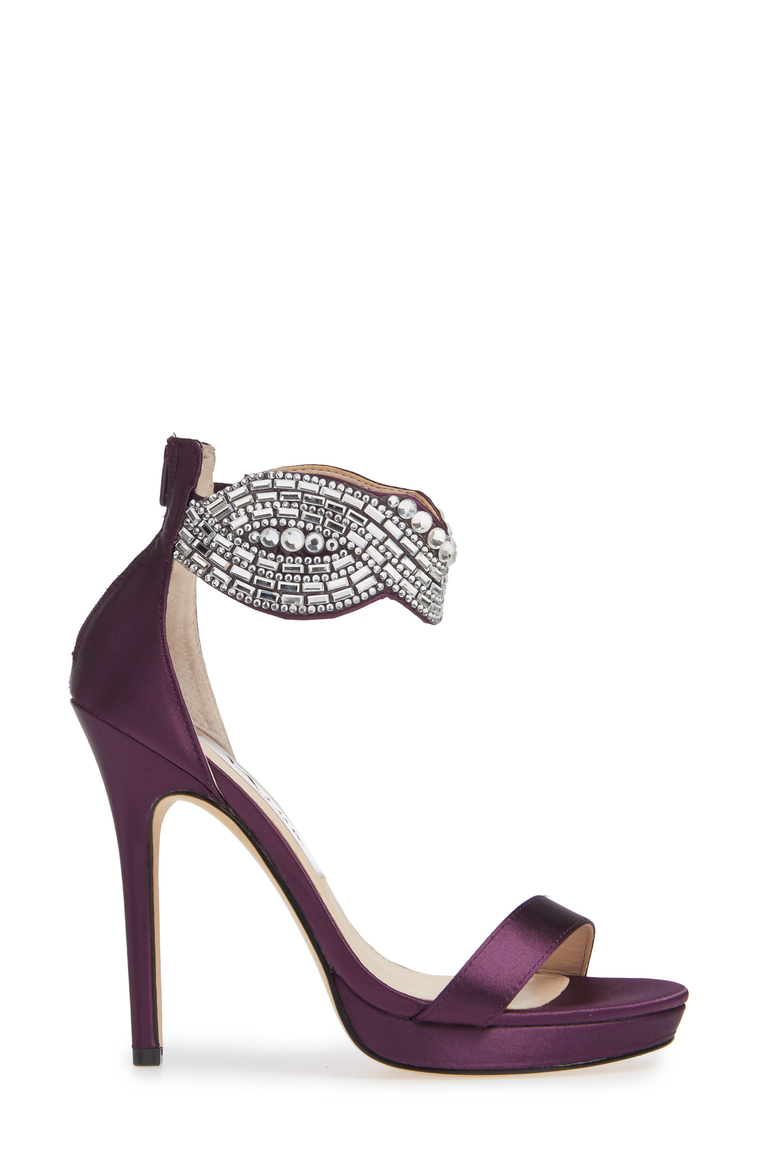 Fayth Jeweled Ankle Cuff Sandal,                             Alternate thumbnail 3, color,                             EGGPLANT SATIN