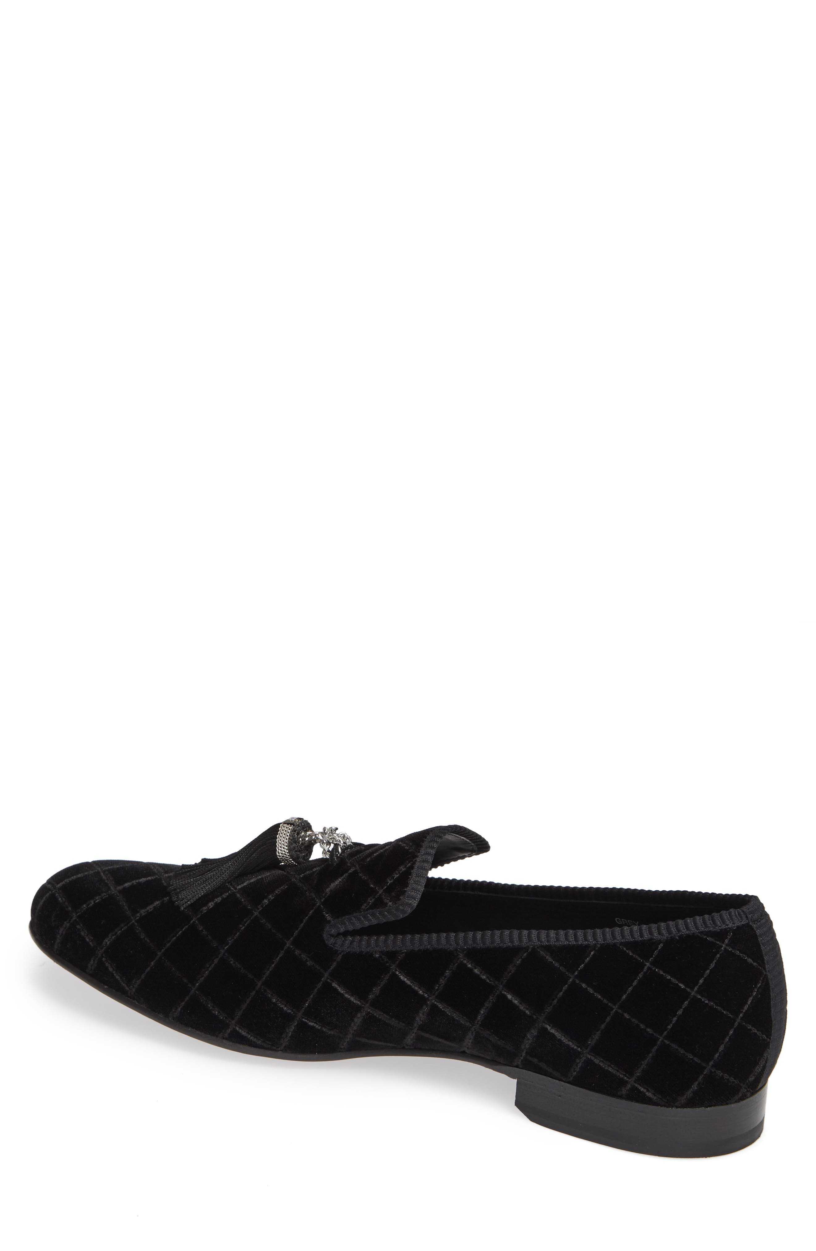 Quilted Tassel Loafer,                             Alternate thumbnail 2, color,                             BLACK FABRIC