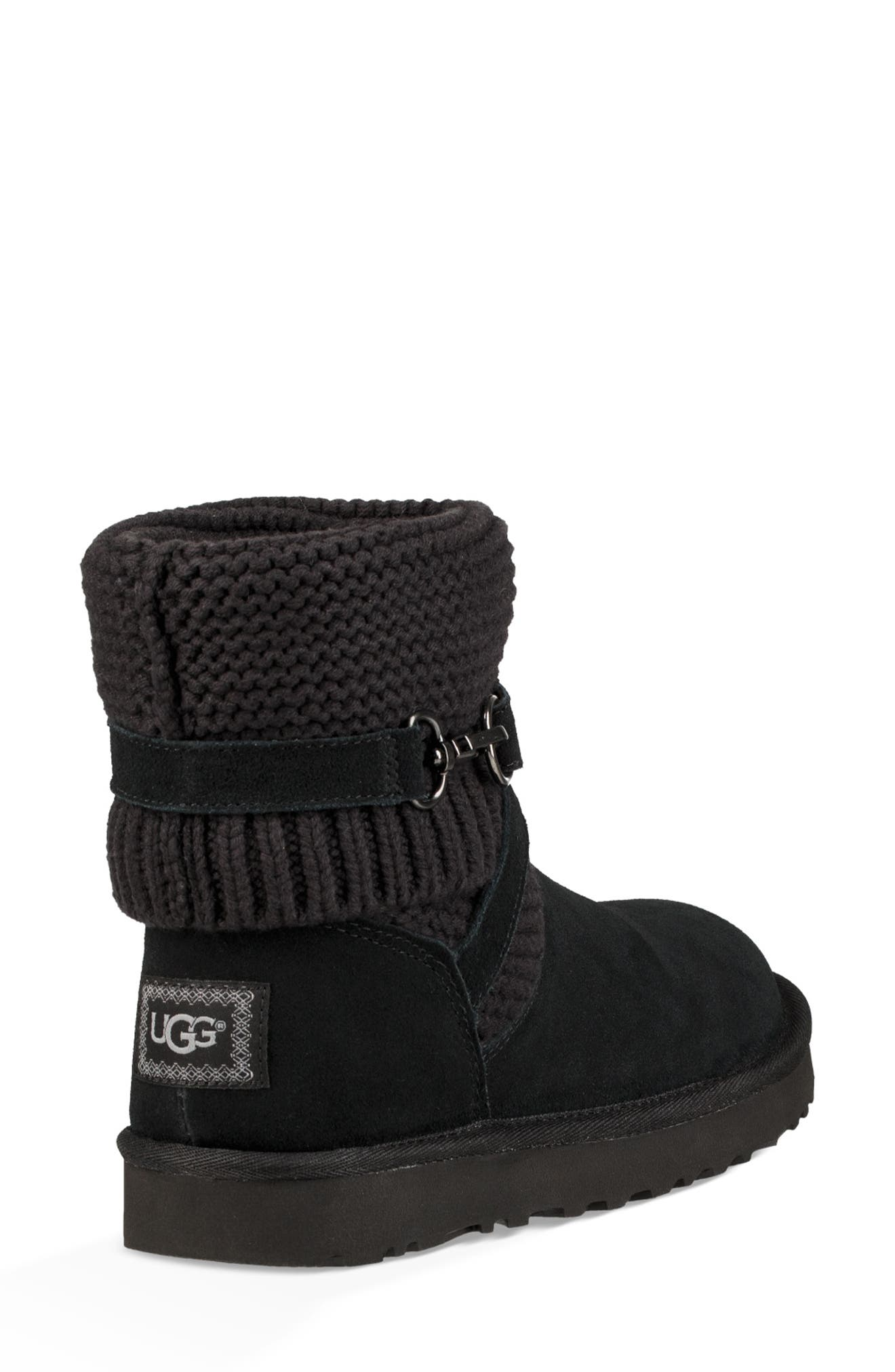 UGGpure<sup>™</sup> Strappy Purl Knit Bootie,                             Alternate thumbnail 9, color,                             BLACK SUEDE
