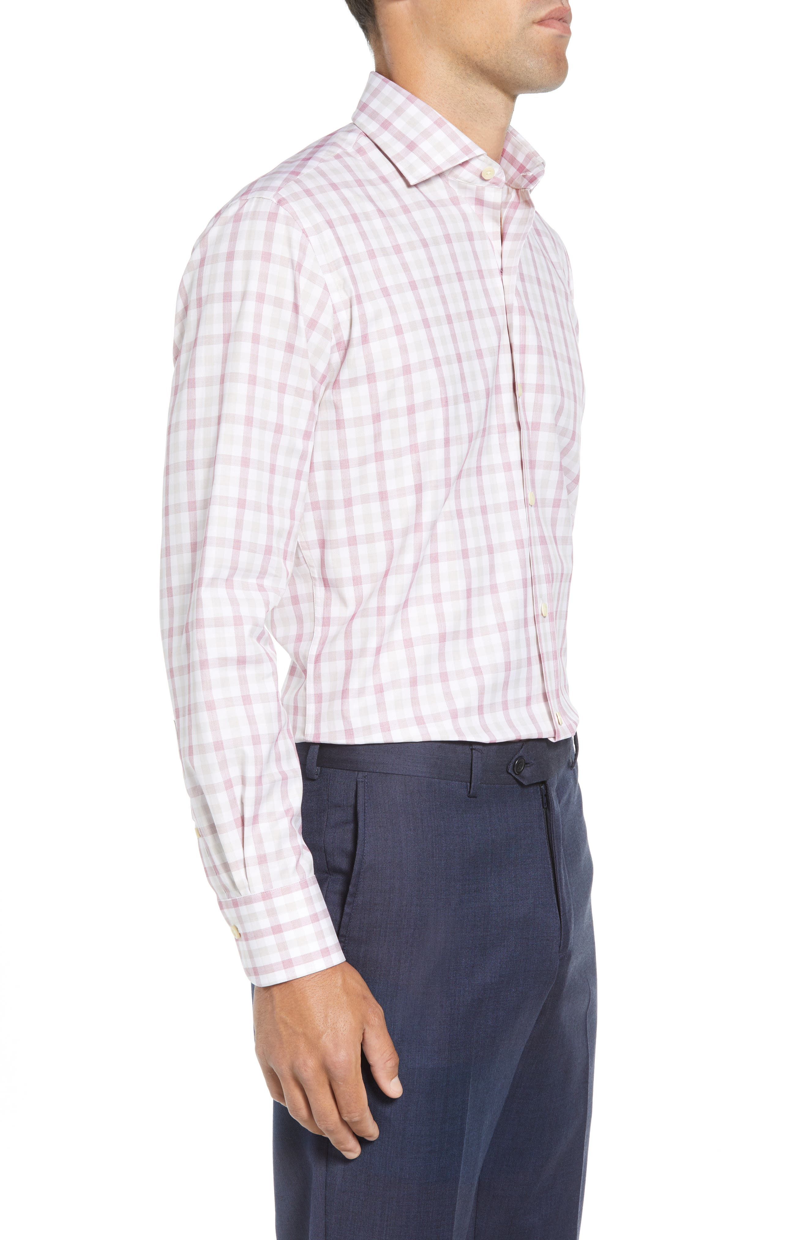 Corbly Trim Fit Check Dress Shirt,                             Alternate thumbnail 4, color,                             RED