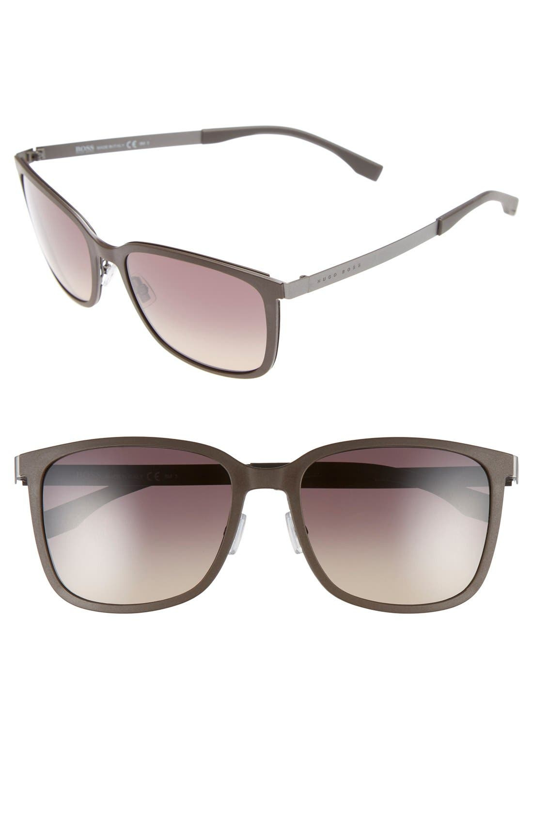 56mm Retro Sunglasses,                         Main,                         color, RUTHENIUM/GRAY/ GREEN GRADIENT