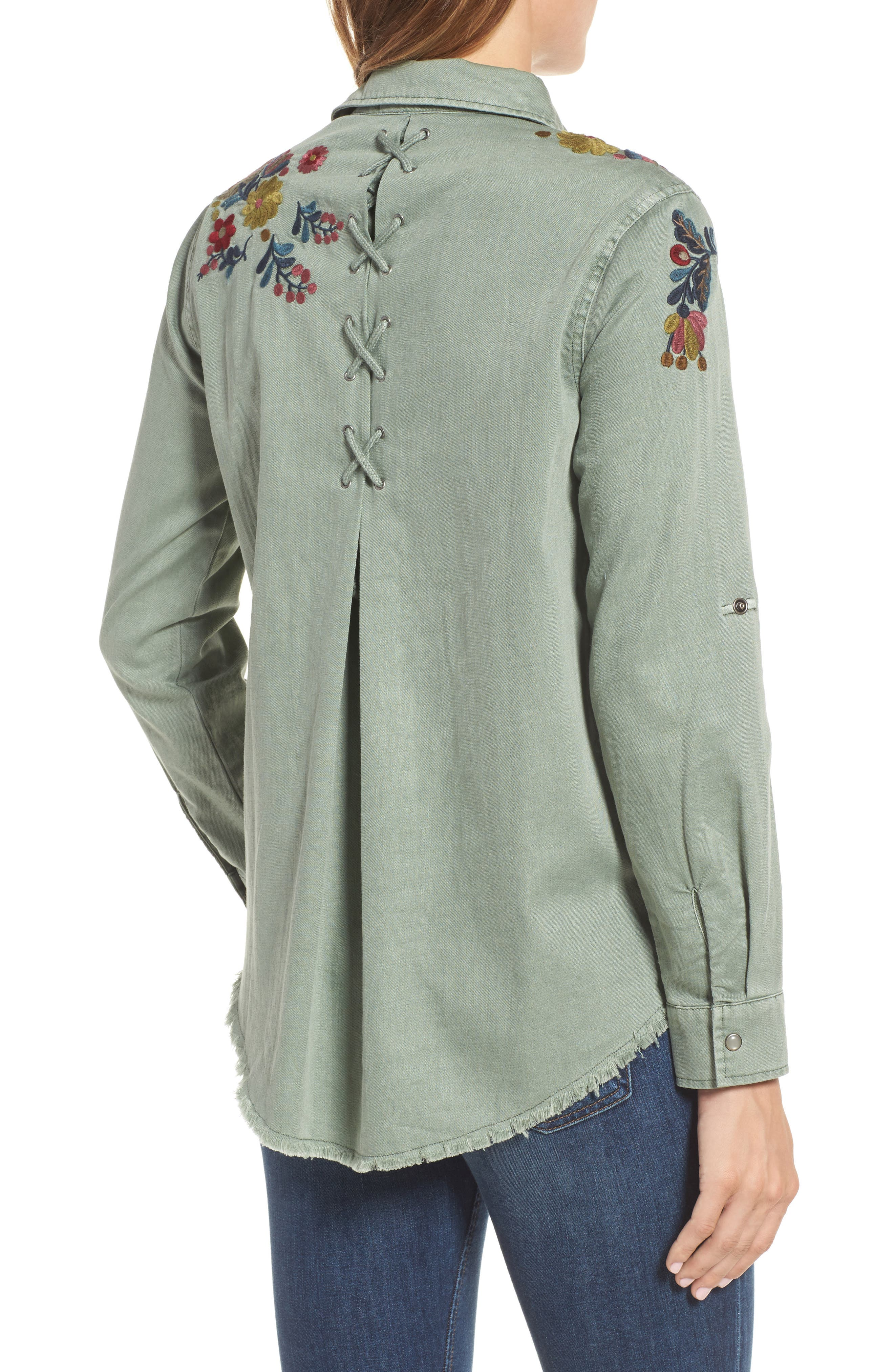 Roll Sleeve Embroidered Shirt,                             Alternate thumbnail 2, color,                             301