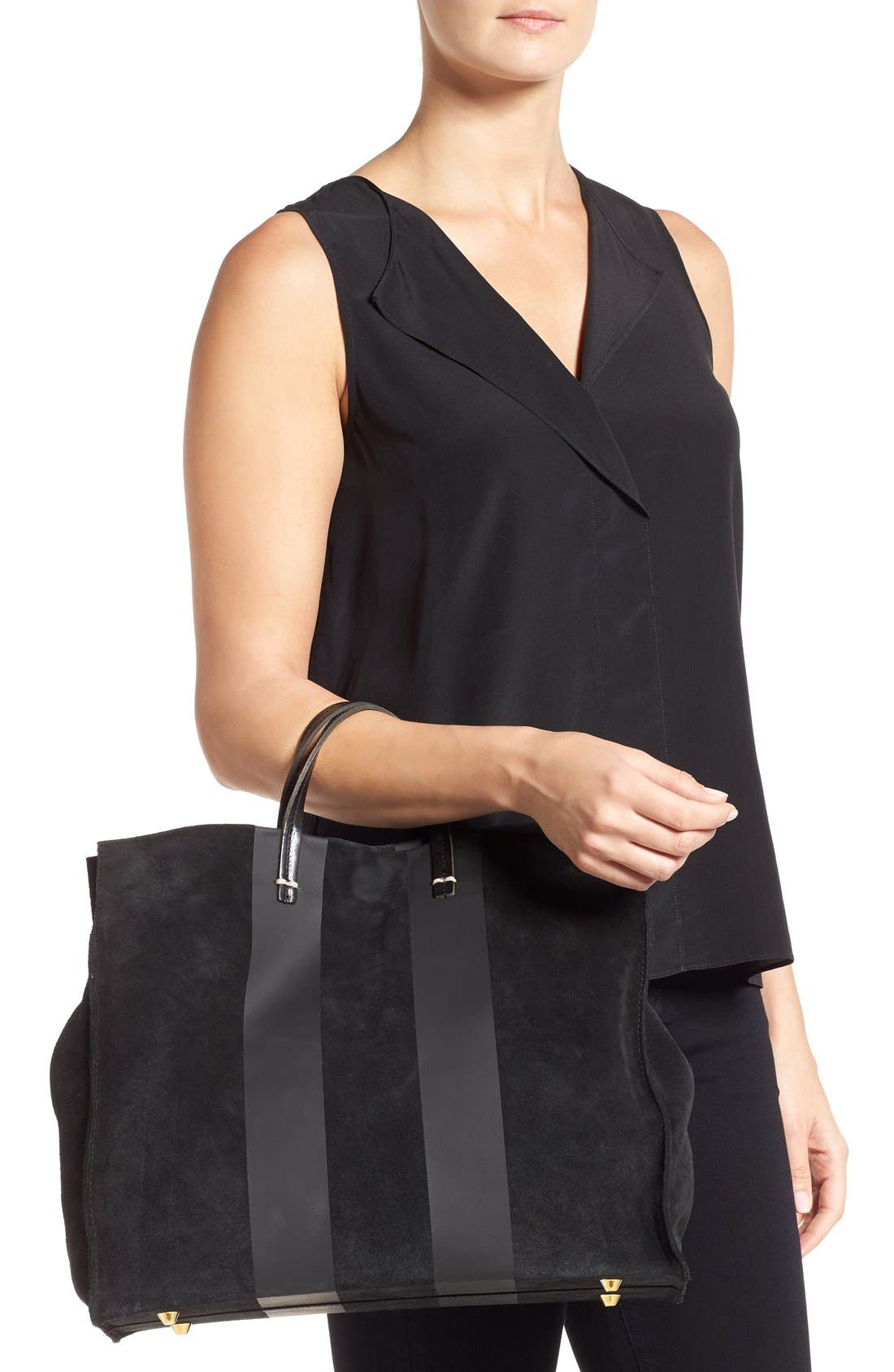 'Simple' Stripe Leather Tote,                             Alternate thumbnail 4, color,                             002