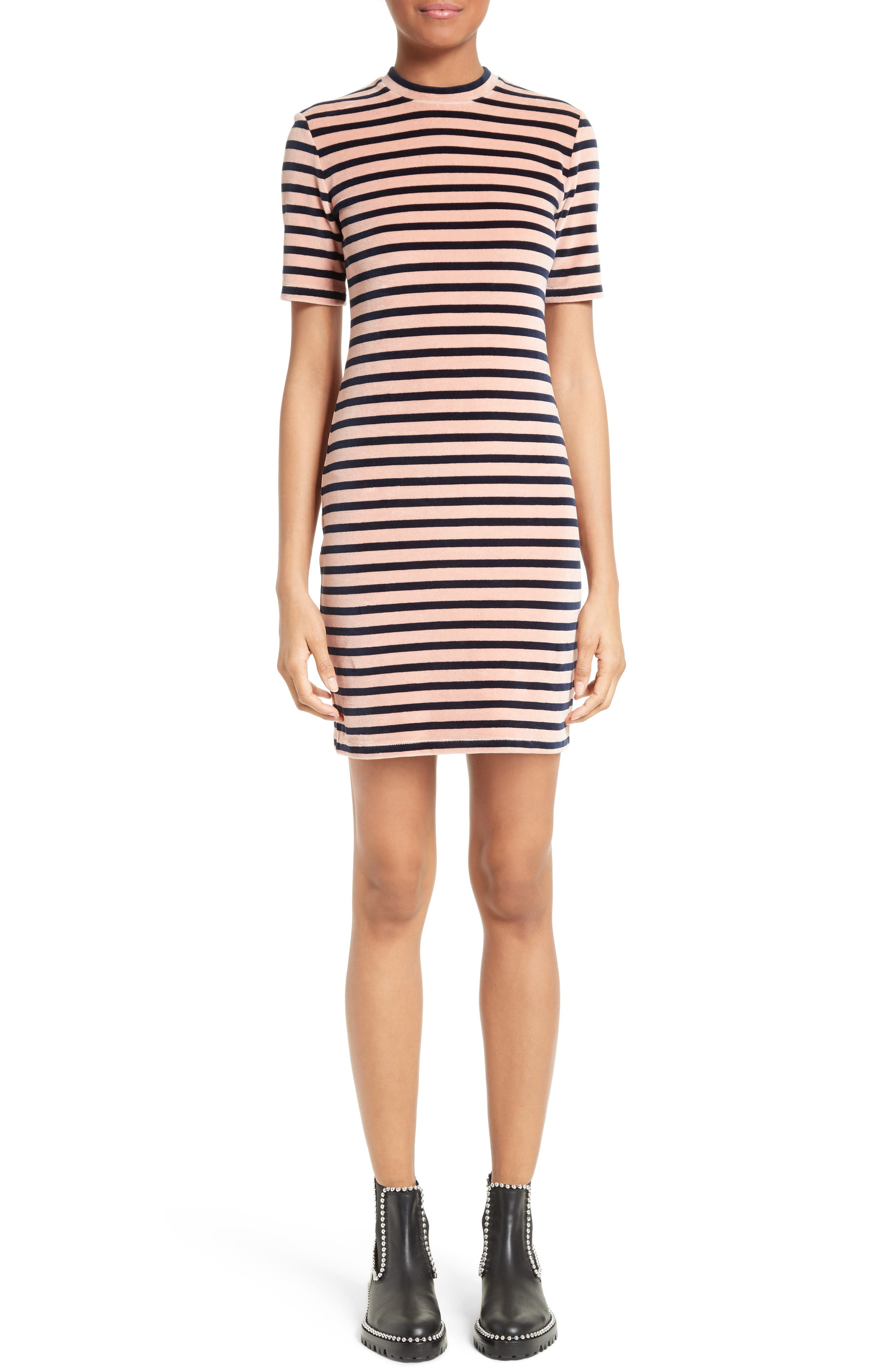 T by Alexander Wang Stripe Velvet Dress,                         Main,                         color, 401