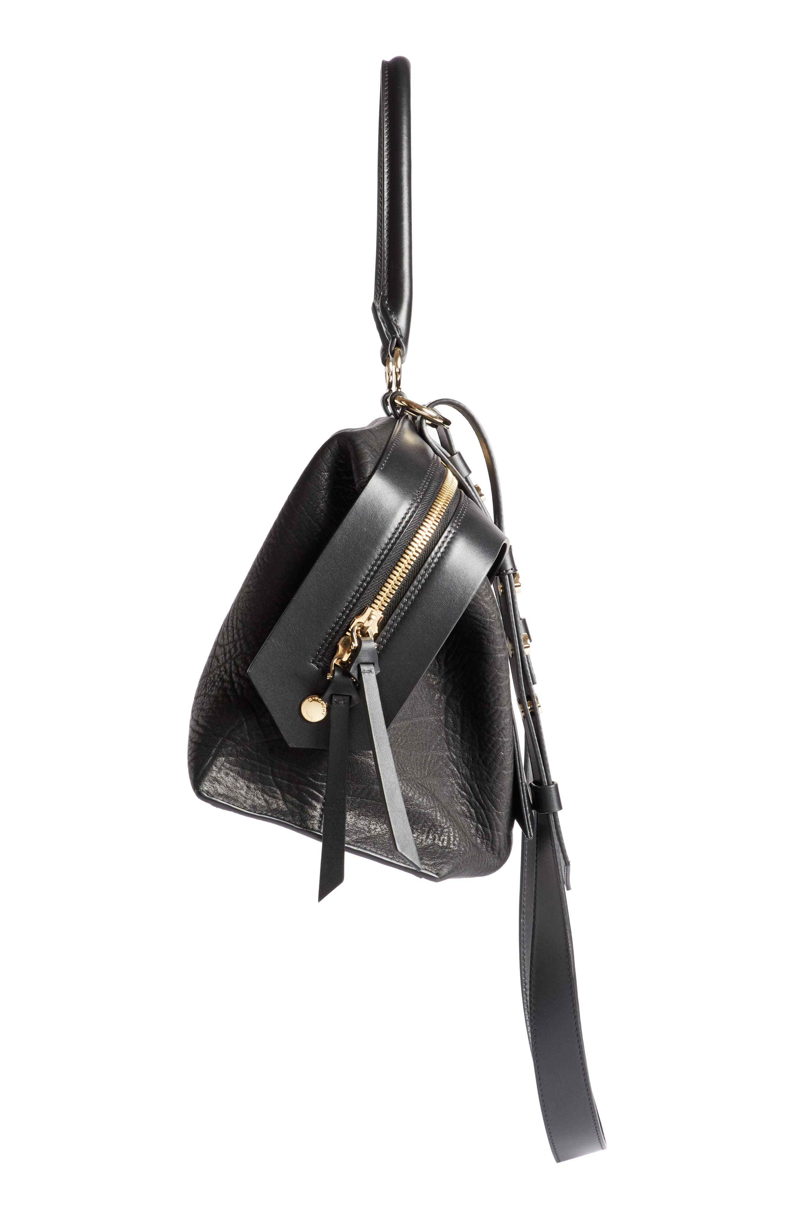 GIVENCHY,                             Medium Sway Leather Satchel,                             Alternate thumbnail 4, color,                             001