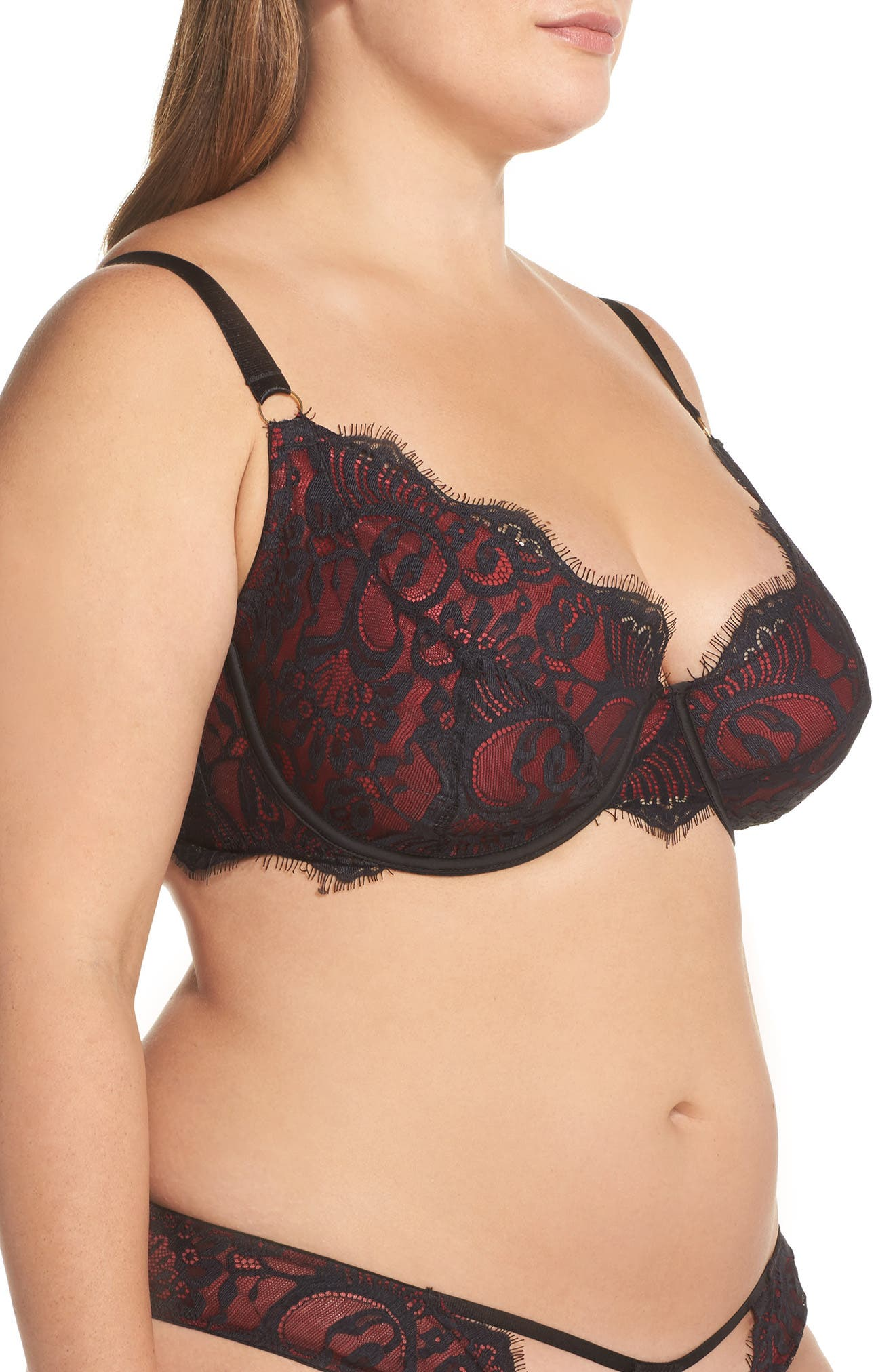 Bailey Curve Embroidered Underwire Bra,                             Alternate thumbnail 3, color,