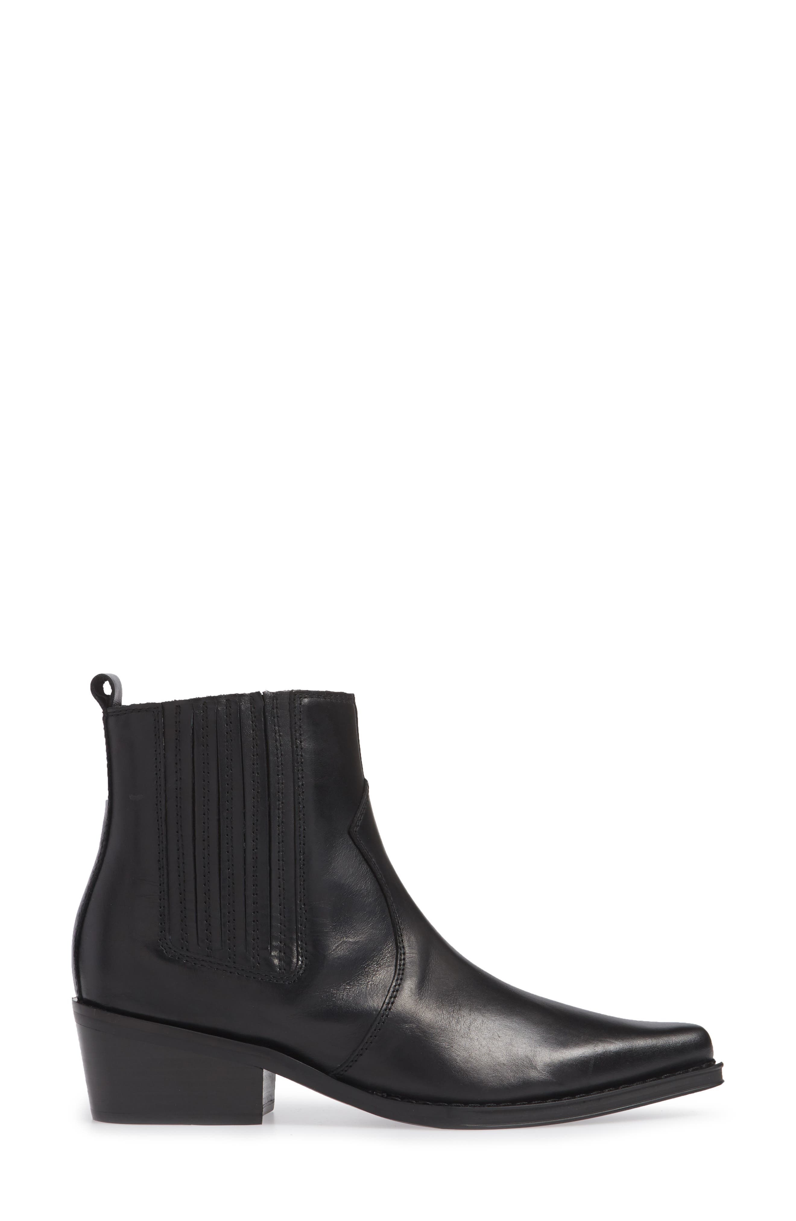Barbara Bootie,                             Alternate thumbnail 3, color,                             BLACK LEATHER