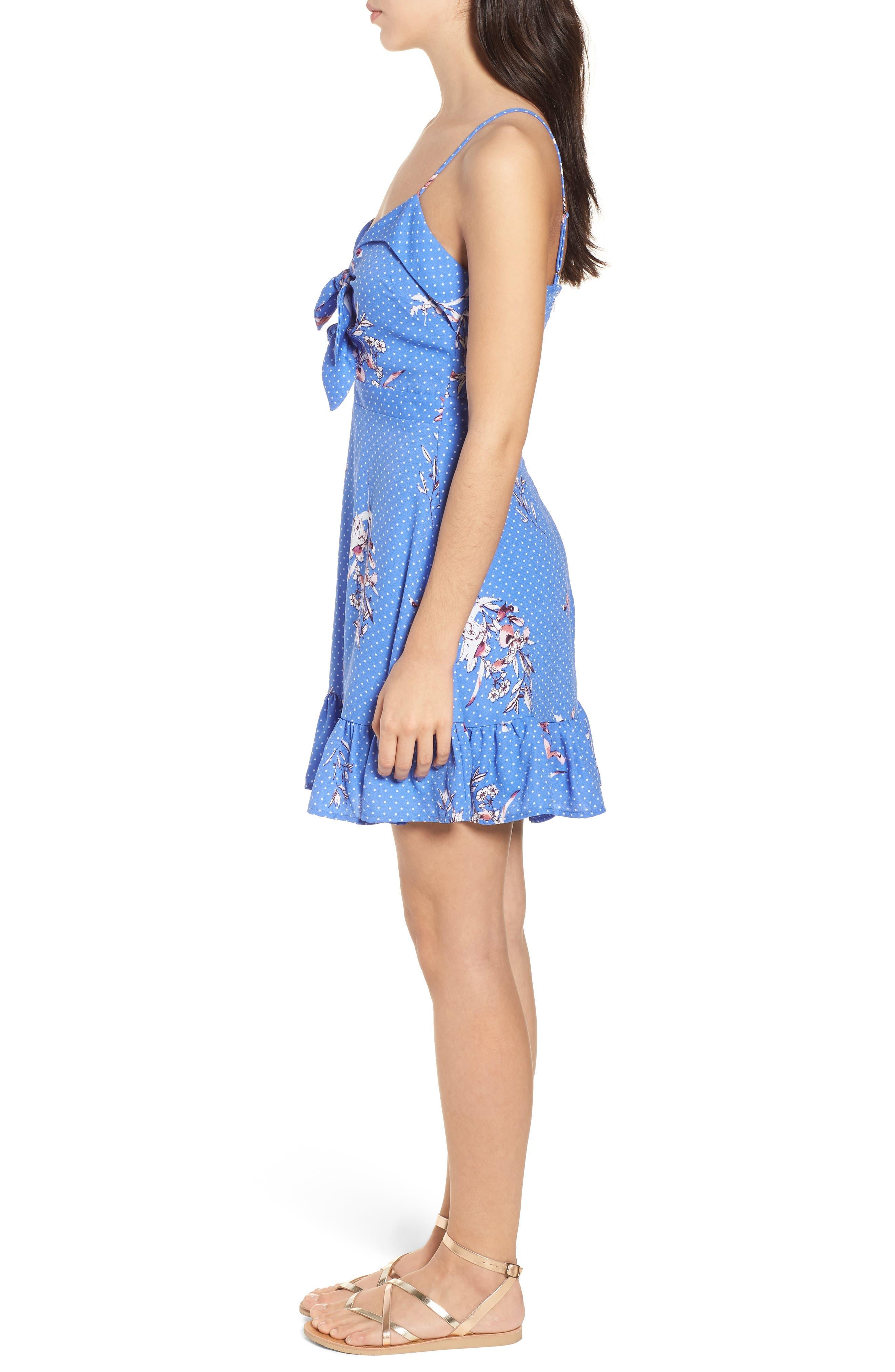 Vanessa Tie Front Minidress,                             Alternate thumbnail 3, color,