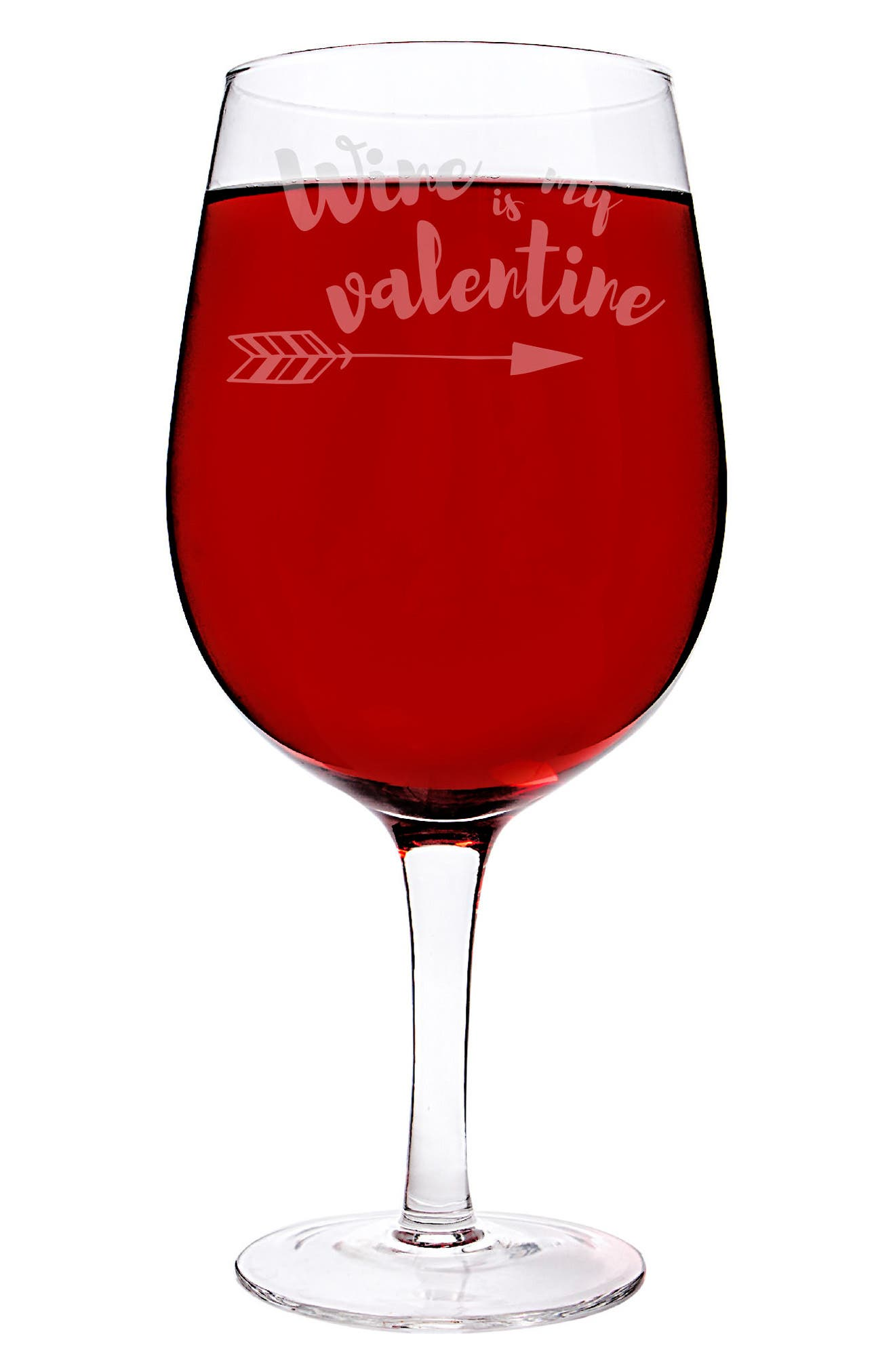 Etched XL Valentine Wine Glass,                             Main thumbnail 1, color,