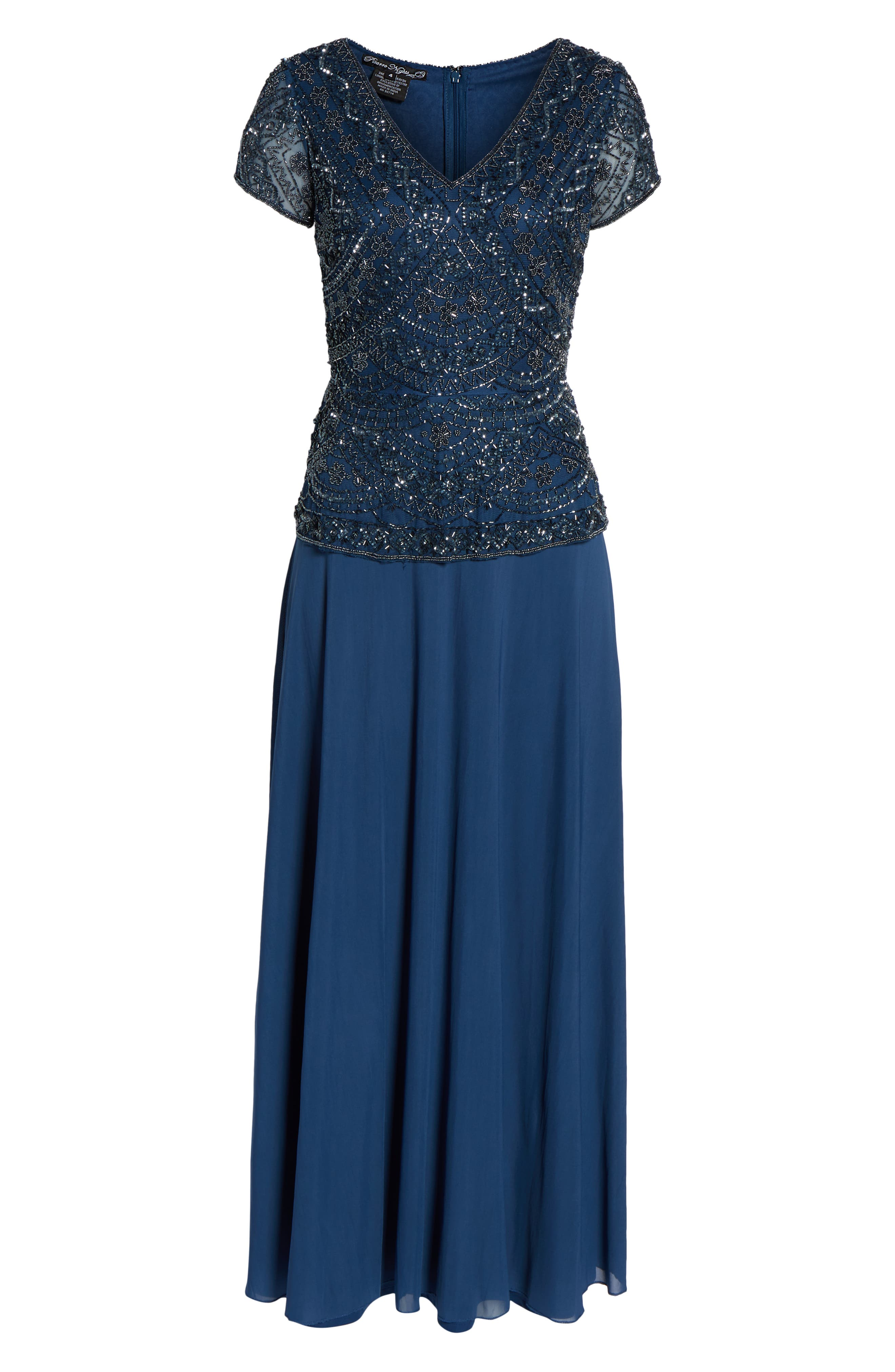 PISARRO NIGHTS,                             Beaded V-Neck Mock Two-Piece Gown,                             Alternate thumbnail 7, color,                             PETROL