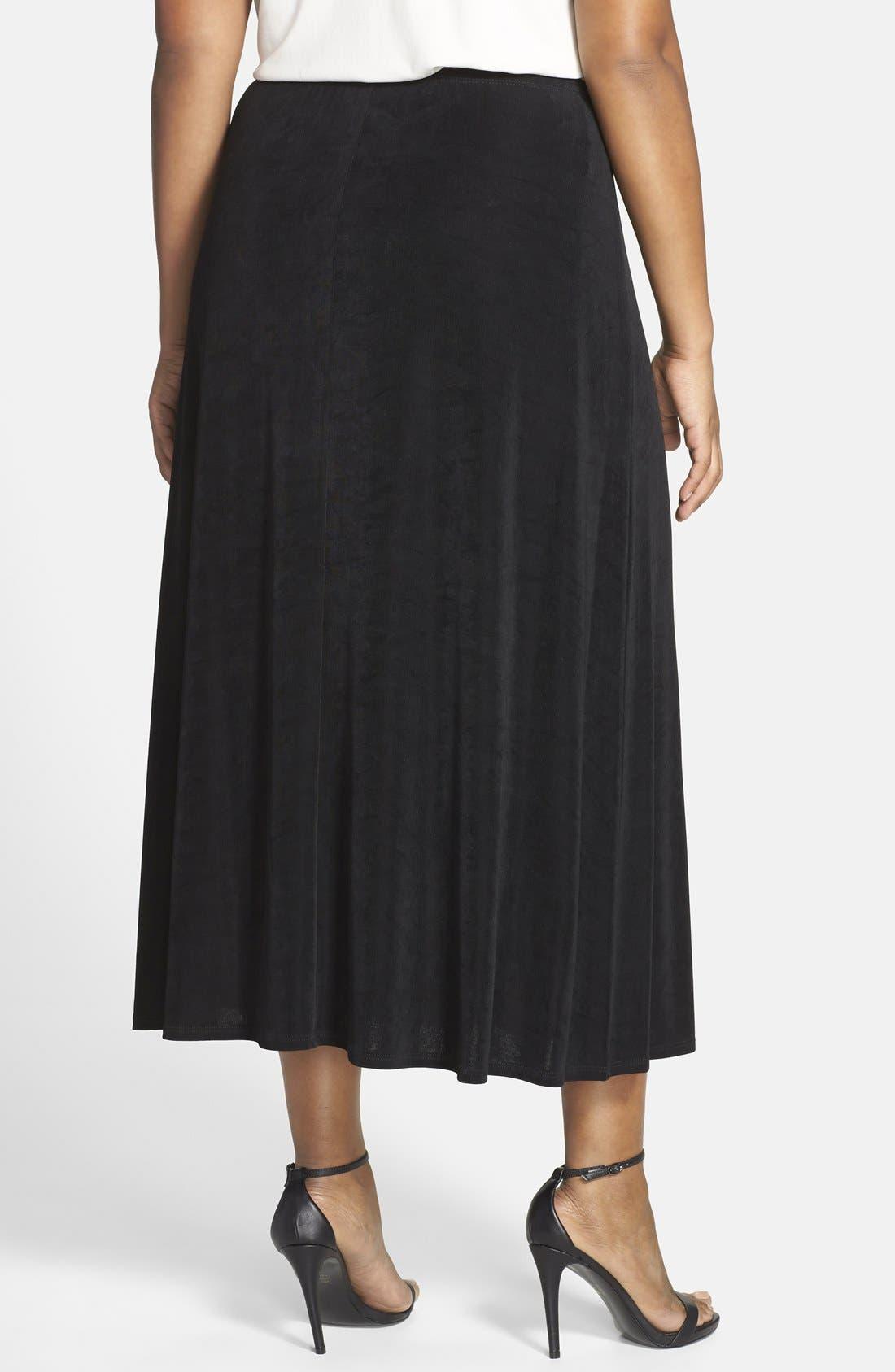 Long A-Line Skirt,                             Alternate thumbnail 2, color,                             BLACK