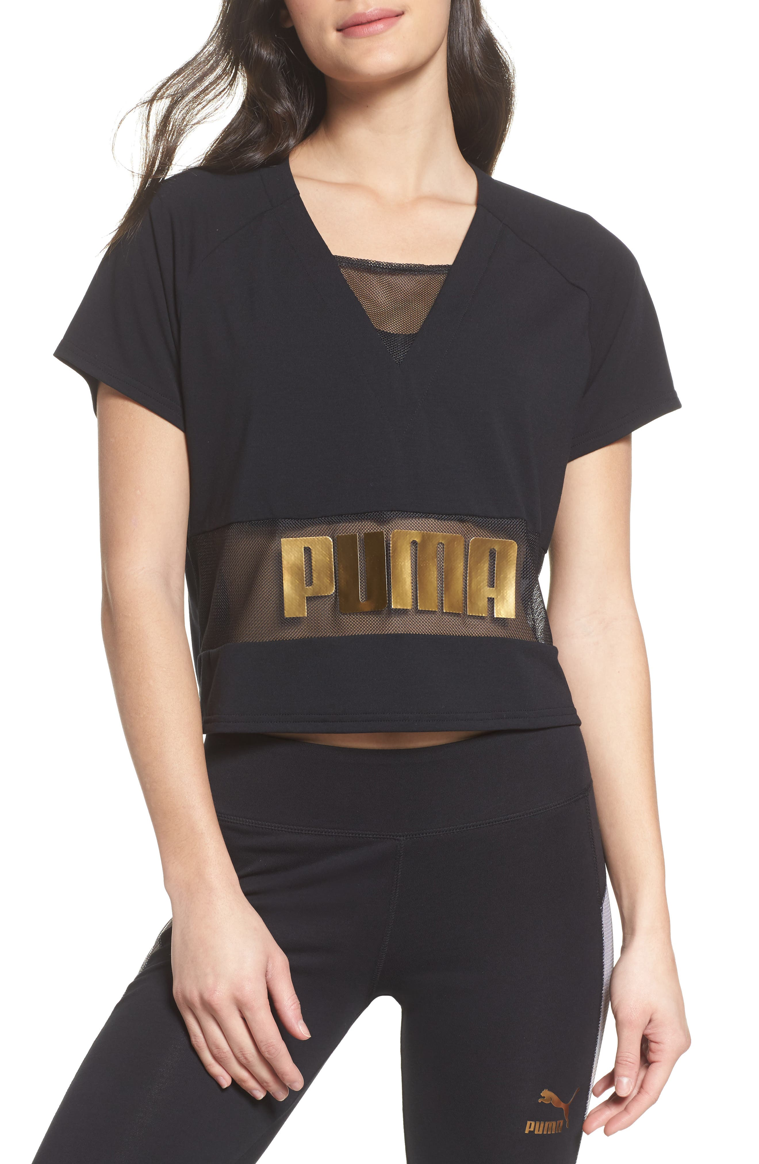 Mesh Layering Tee,                         Main,                         color, 001