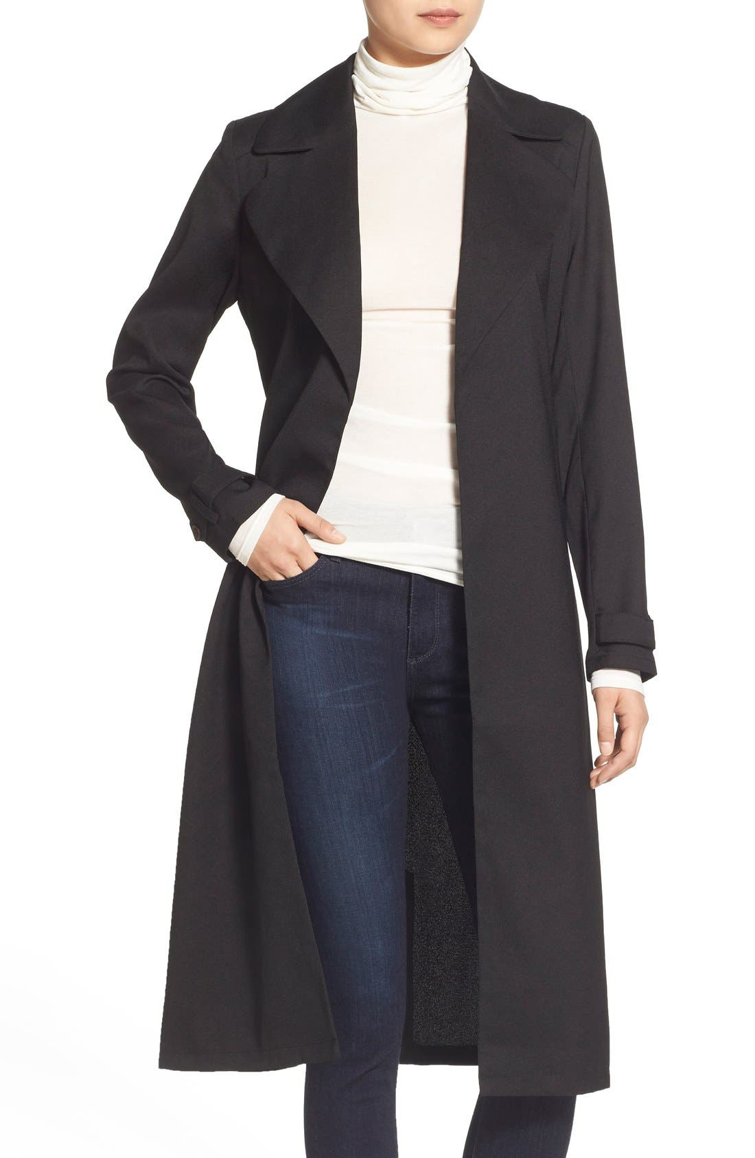 Belted Crepe Trench Coat,                         Main,                         color, 001
