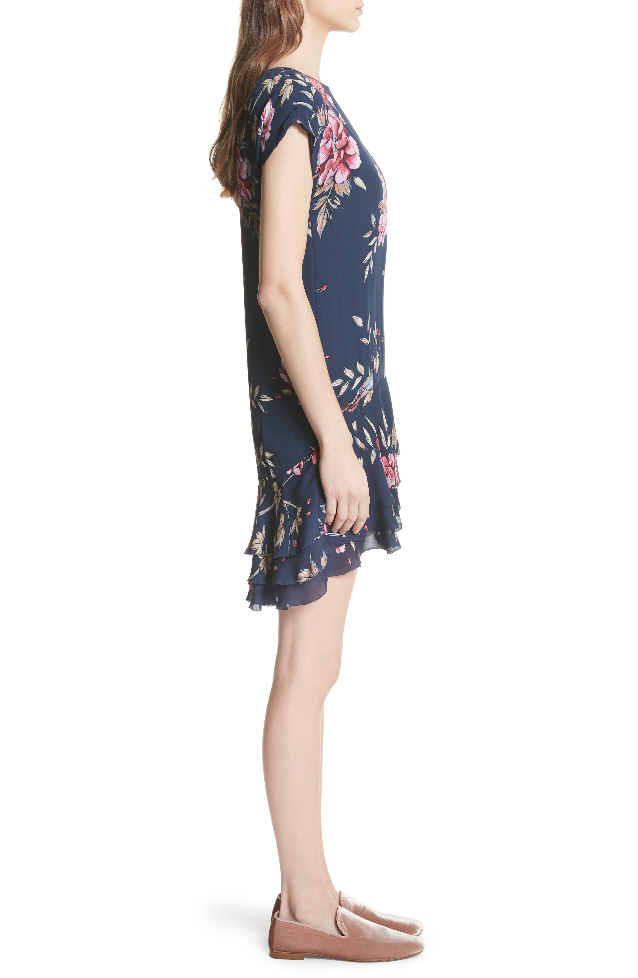 Coreen Drop Waist Floral Silk Dress,                             Alternate thumbnail 3, color,                             DARK NAVY