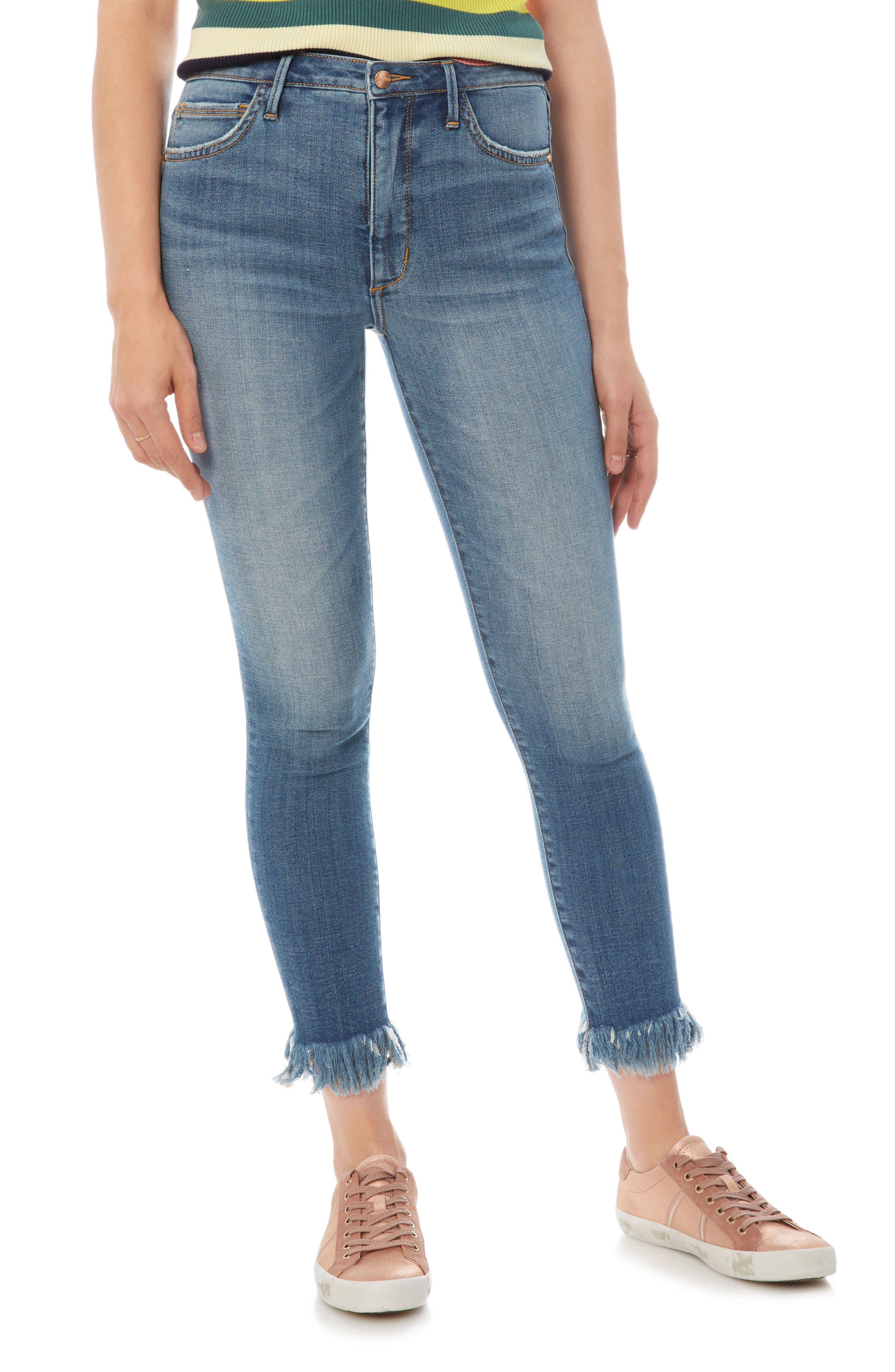 The Stiletto Fringe Hem Crop Jeans,                             Main thumbnail 1, color,                             410