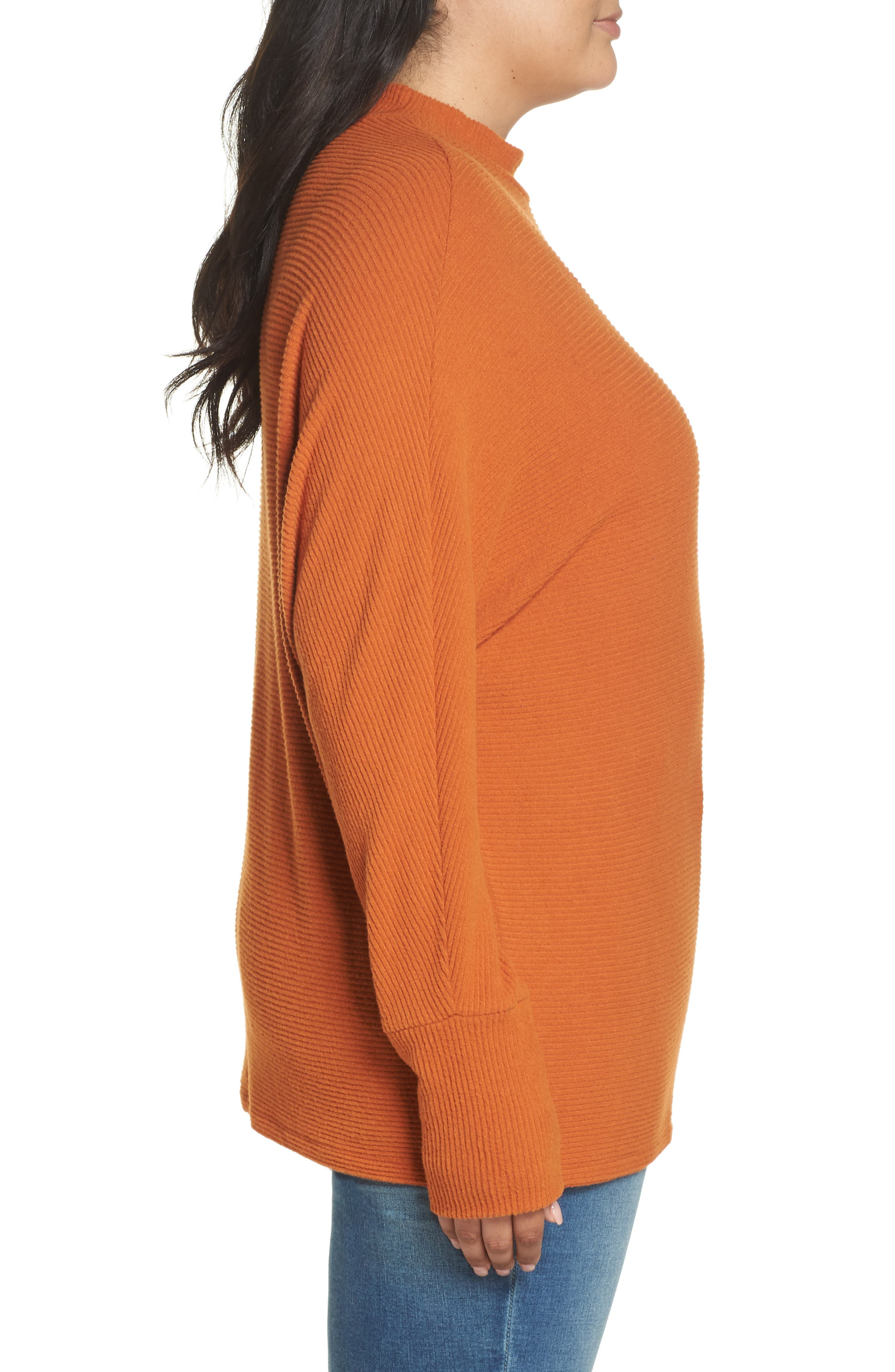 Dolman Sleeve Ribbed Top,                             Alternate thumbnail 9, color,                             RUST CIDER