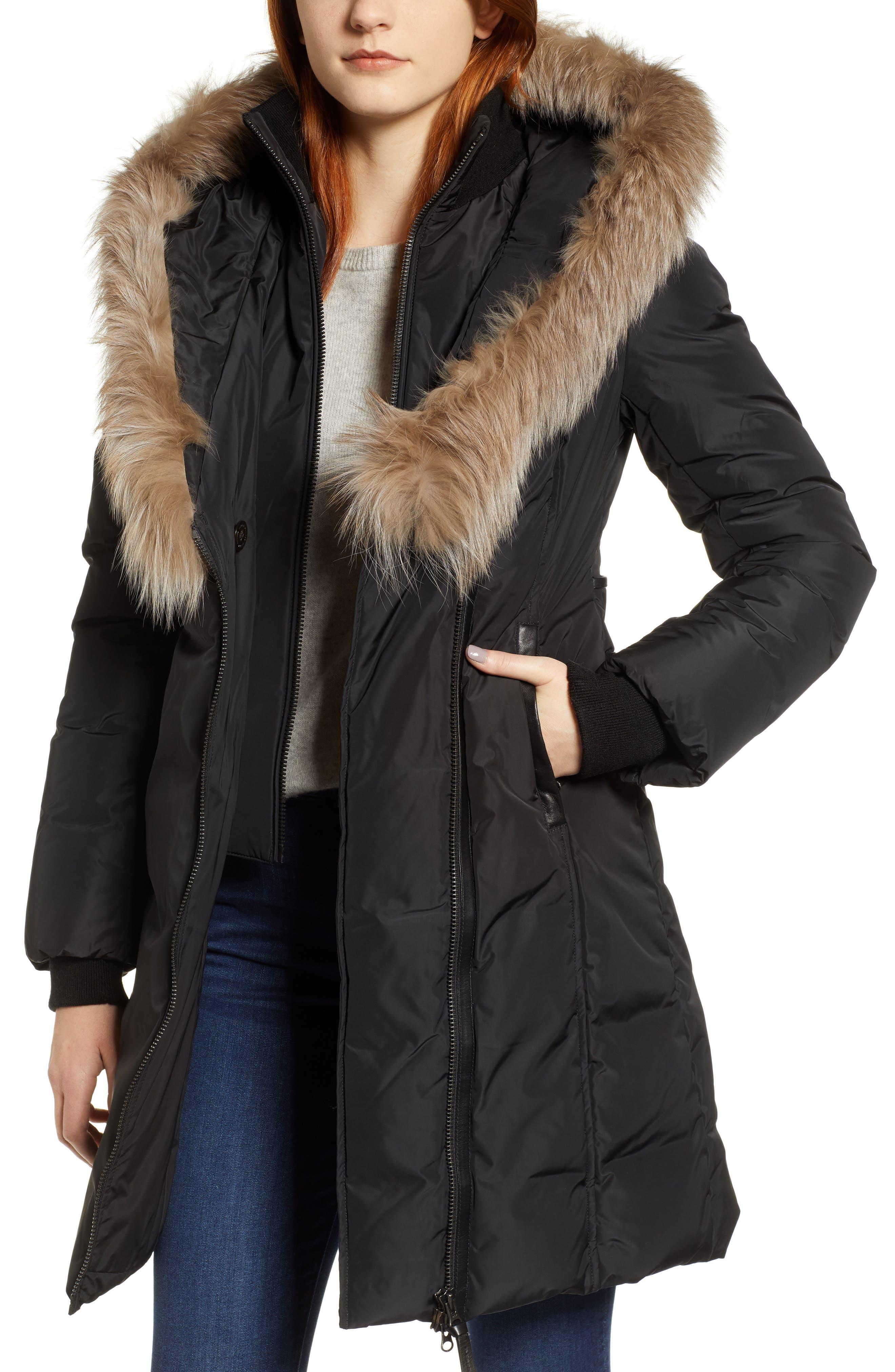 MACKAGE 800 Fill Power Down Coat with Genuine Fox Fur Trim, Main, color, 001