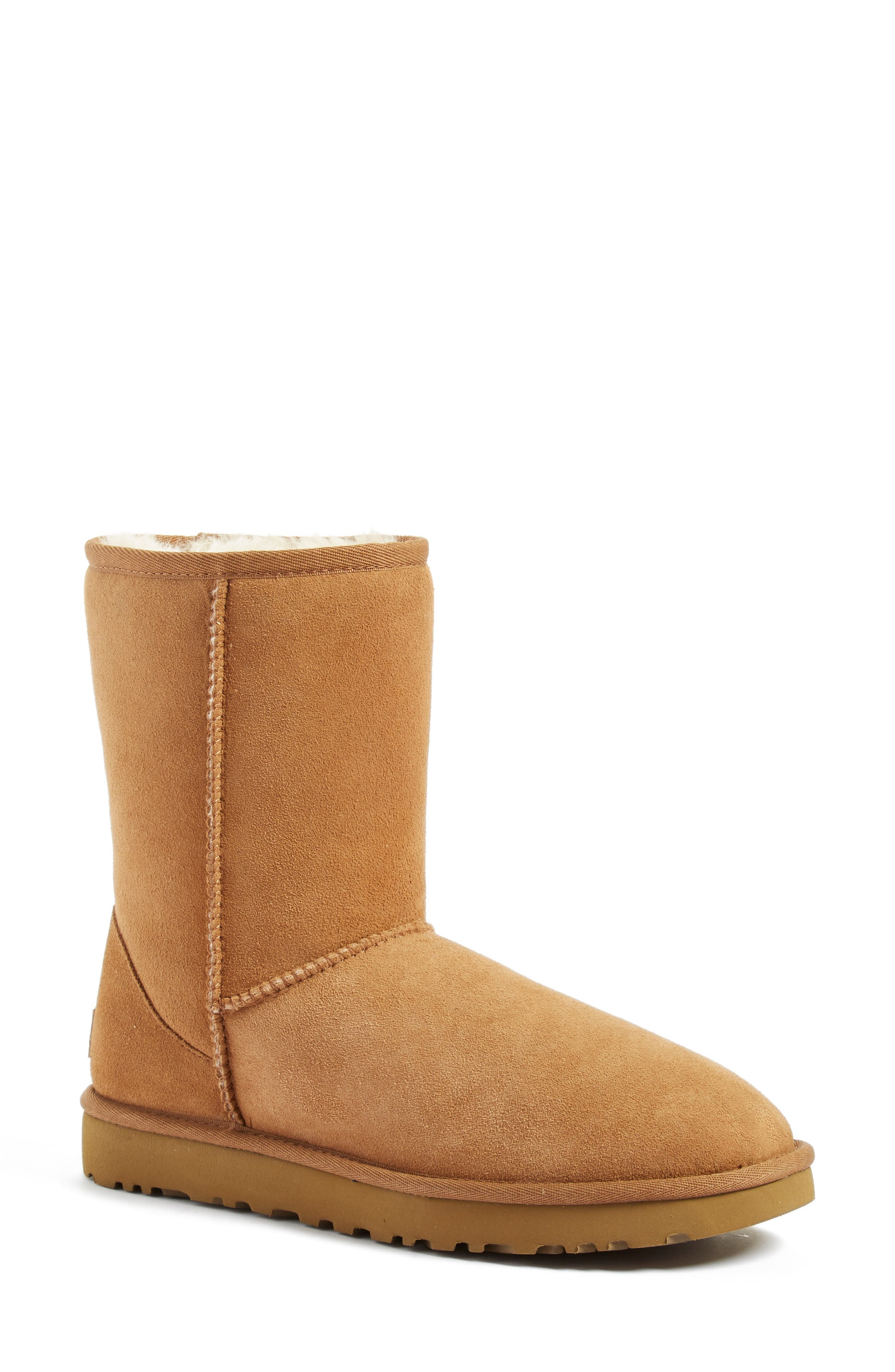 'Classic II' Genuine Shearling Lined Short Boot,                         Main,                         color, CHESTNUT SUEDE