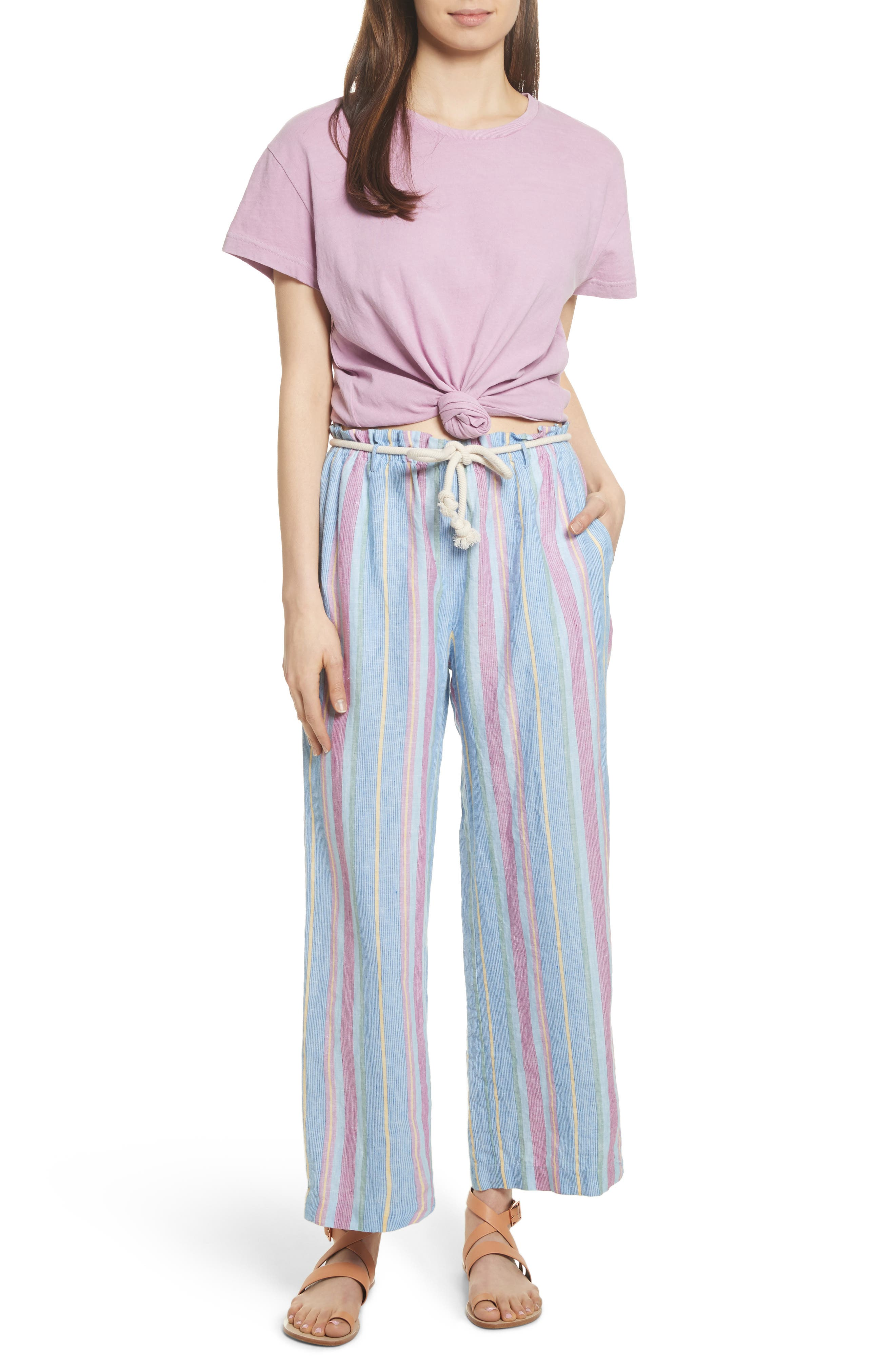Easy Stripe Linen Pants,                             Alternate thumbnail 8, color,