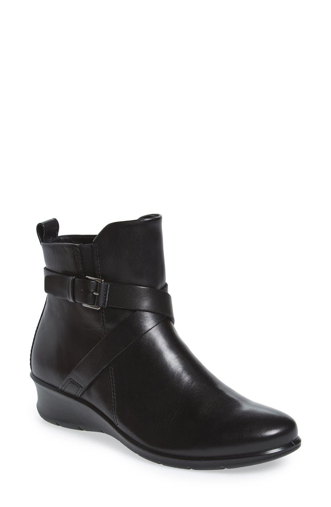 'Felicia' Strappy Zip-Up Wedge Bootie,                             Main thumbnail 1, color,                             008