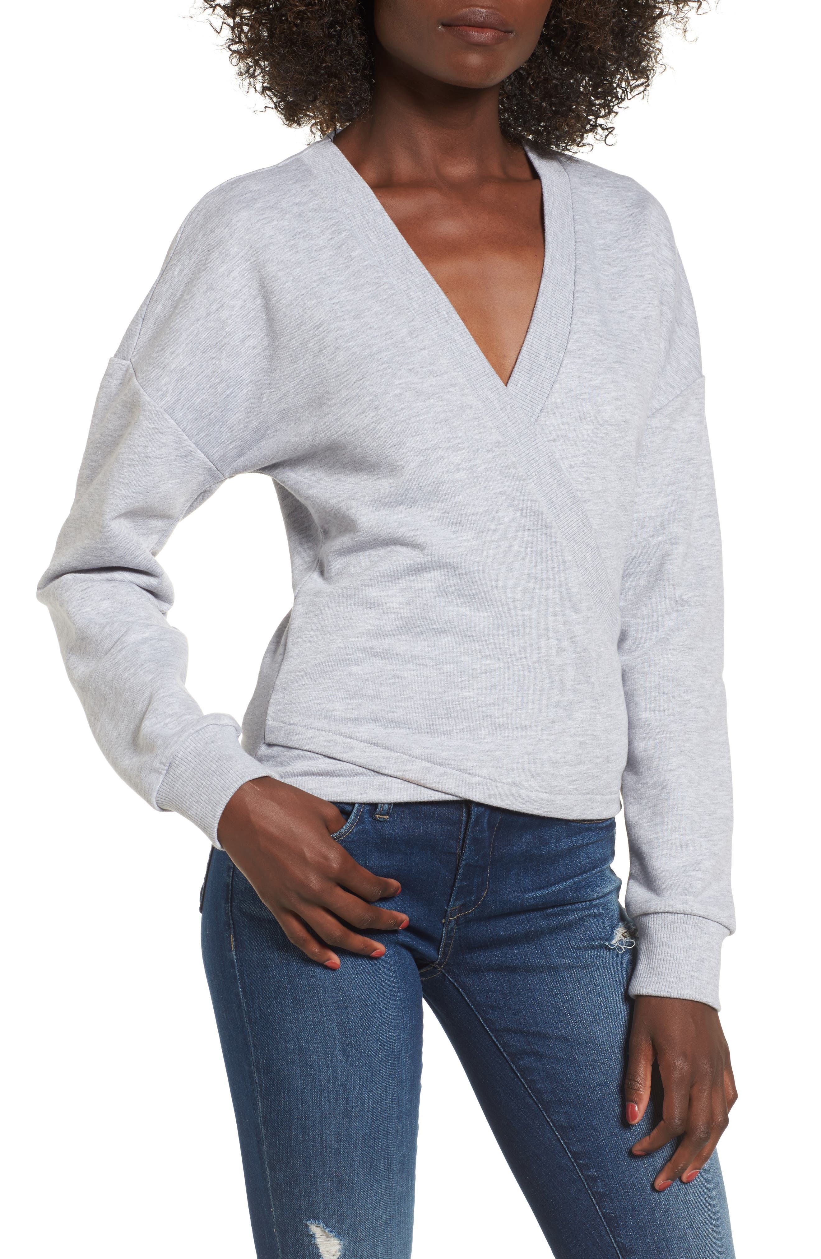 Teaser Faux Wrap Sweatshirt,                             Main thumbnail 1, color,                             020
