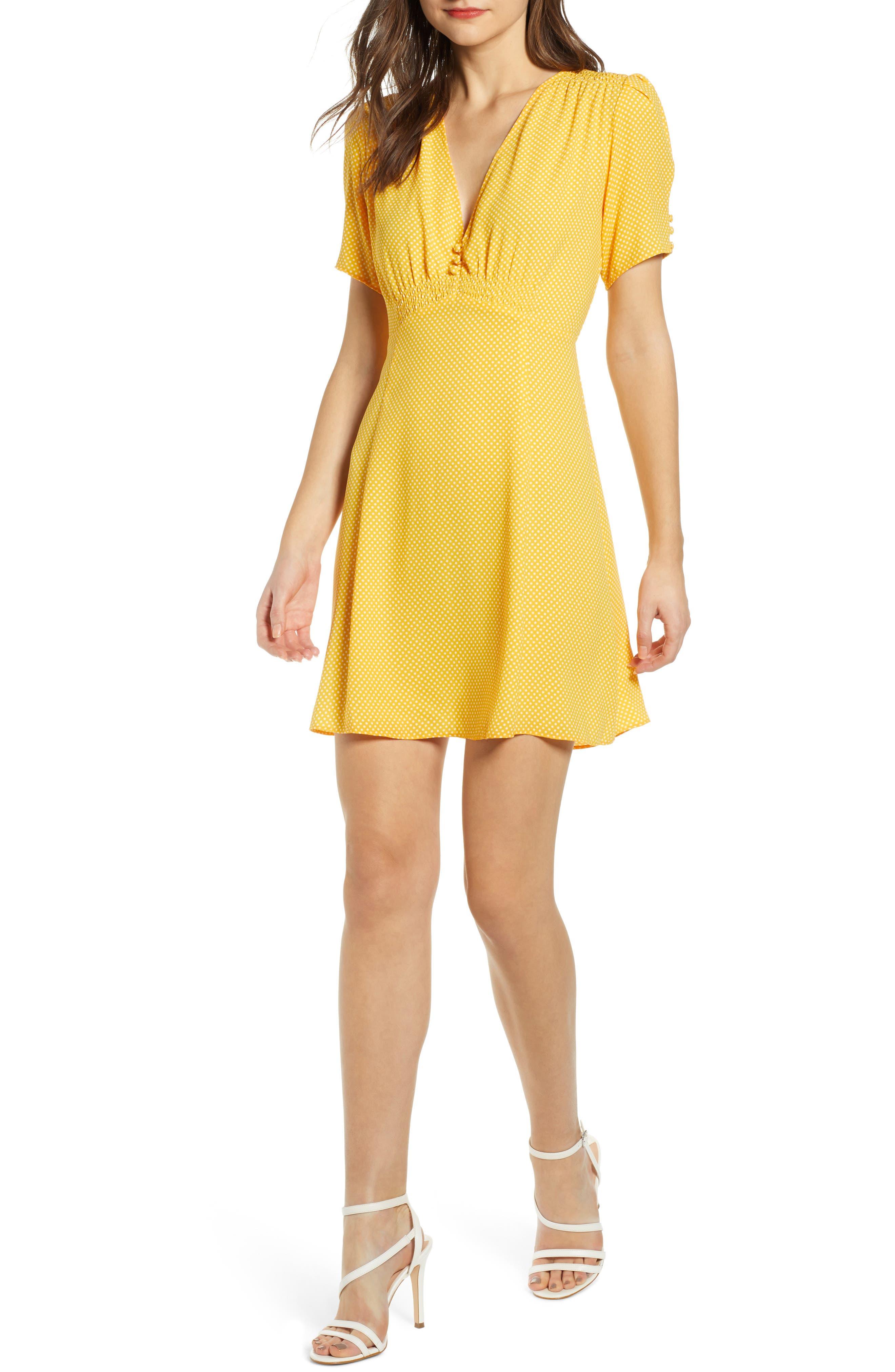 Leith Button Front Minidress, Yellow