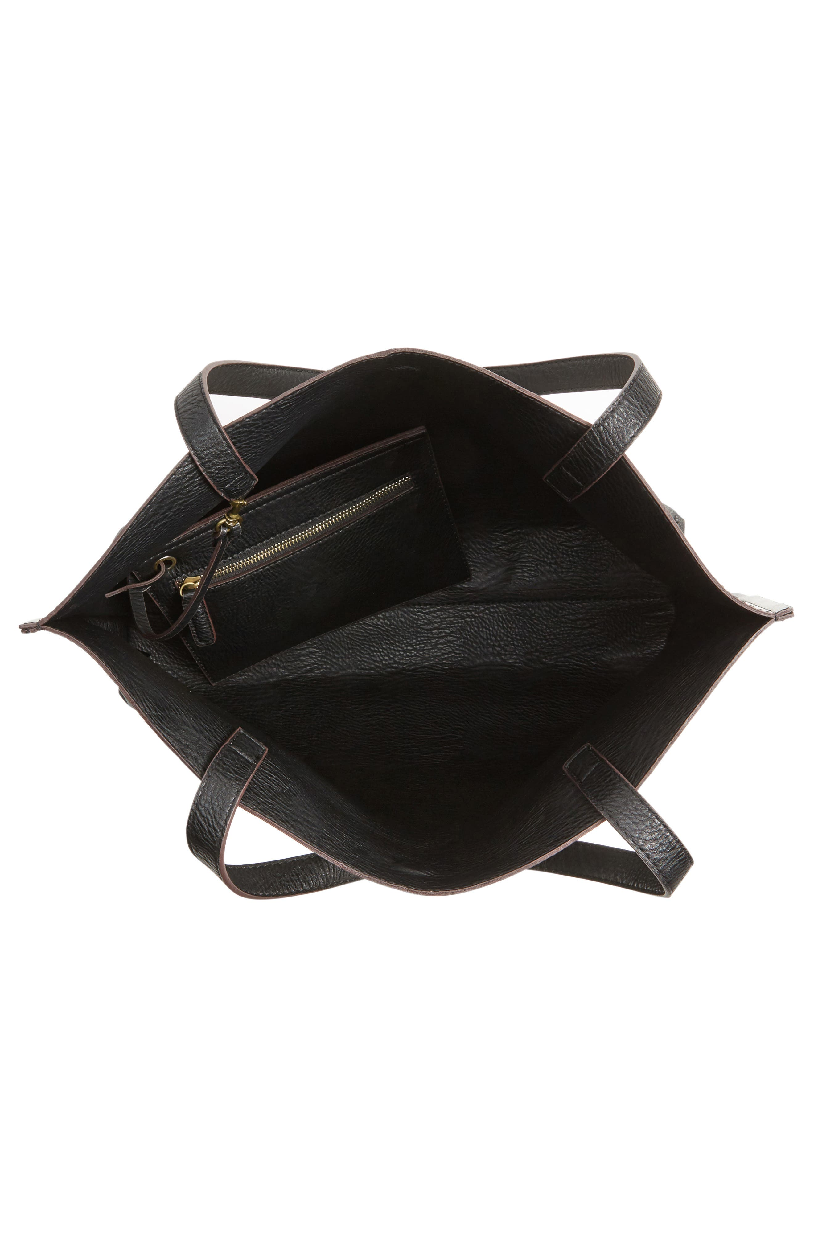Reversible Faux Leather Tote,                             Alternate thumbnail 5, color,                             002