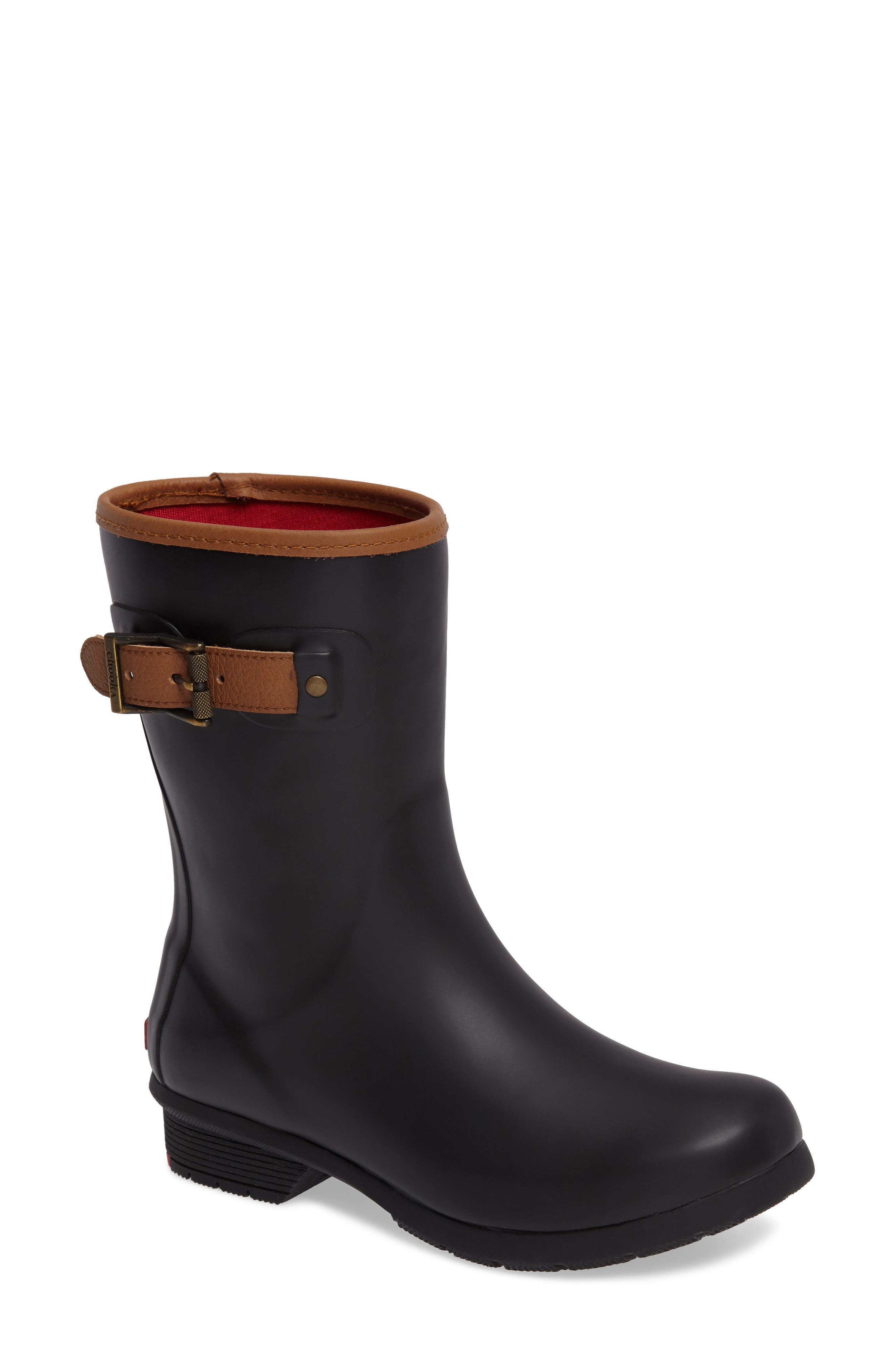 City Solid Mid Height Rain Boot,                             Main thumbnail 1, color,                             001