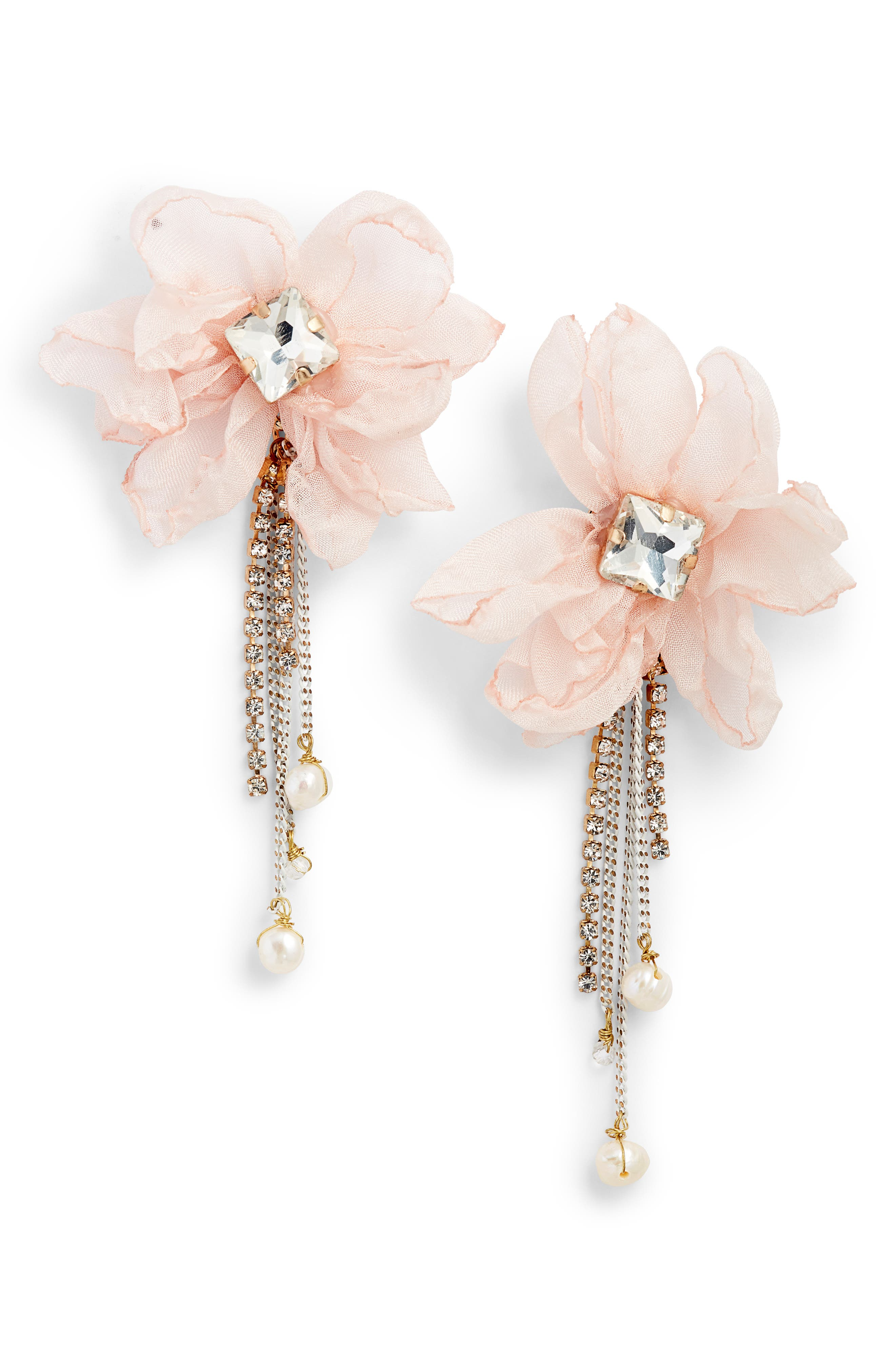 STELLA + RUBY Chiffon Statement Earrings in Gold/ Pink