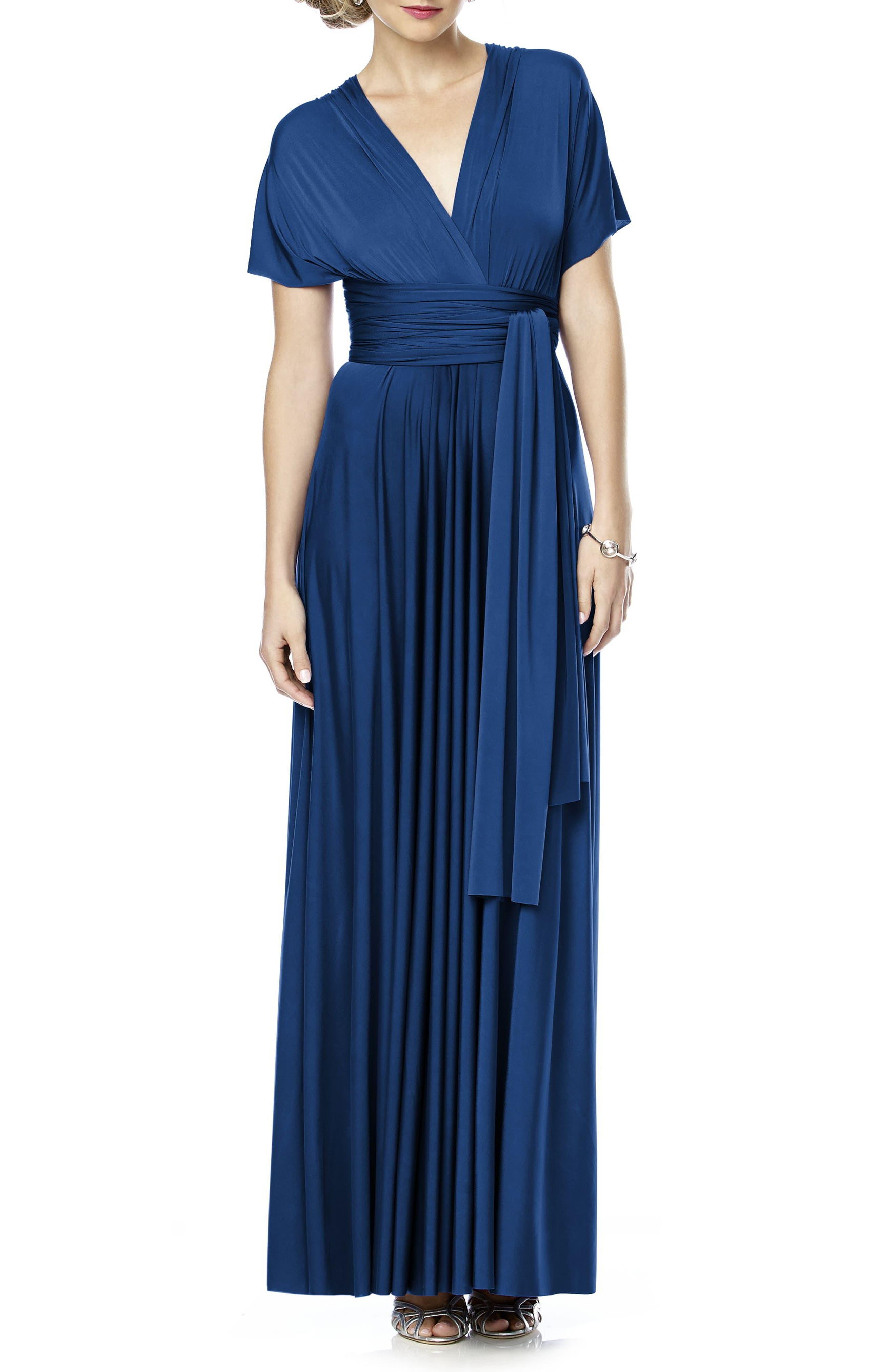 Convertible Wrap Tie Surplice Jersey Gown,                             Alternate thumbnail 13, color,