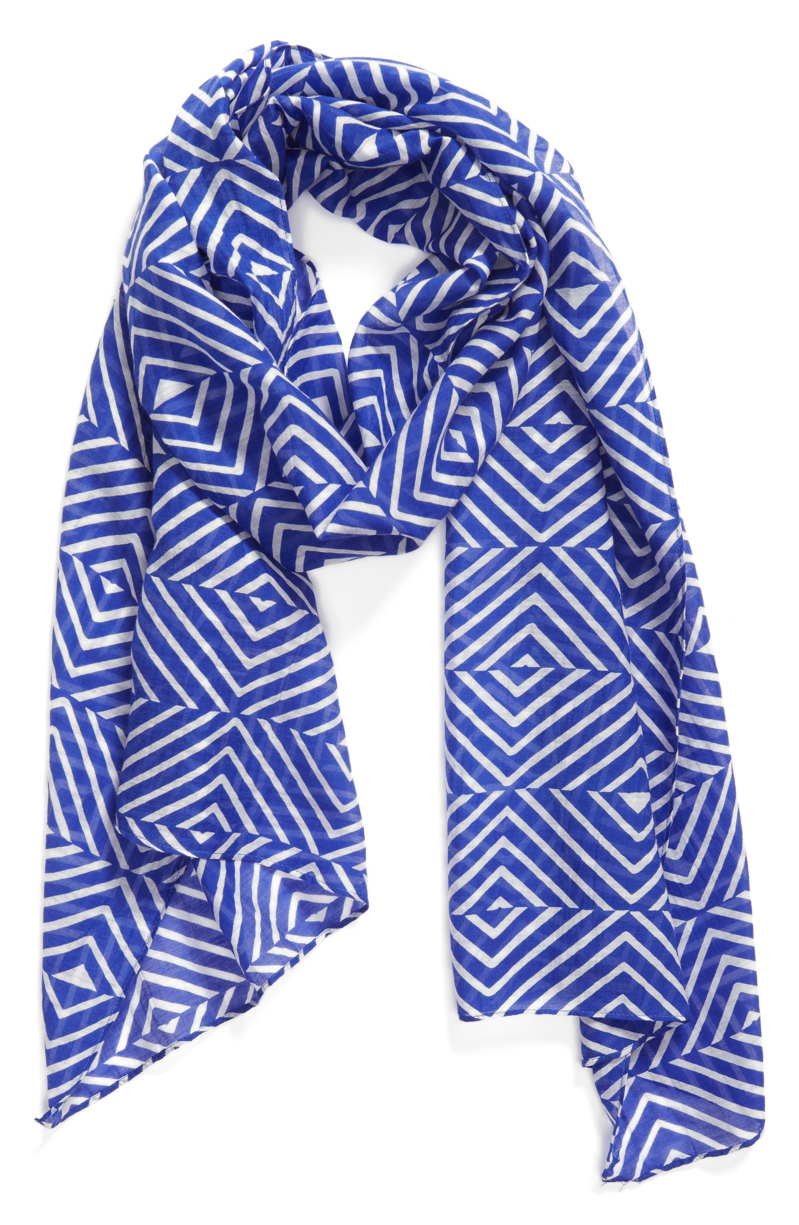 Geo Print Organic Cotton Blend Scarf,                             Alternate thumbnail 5, color,
