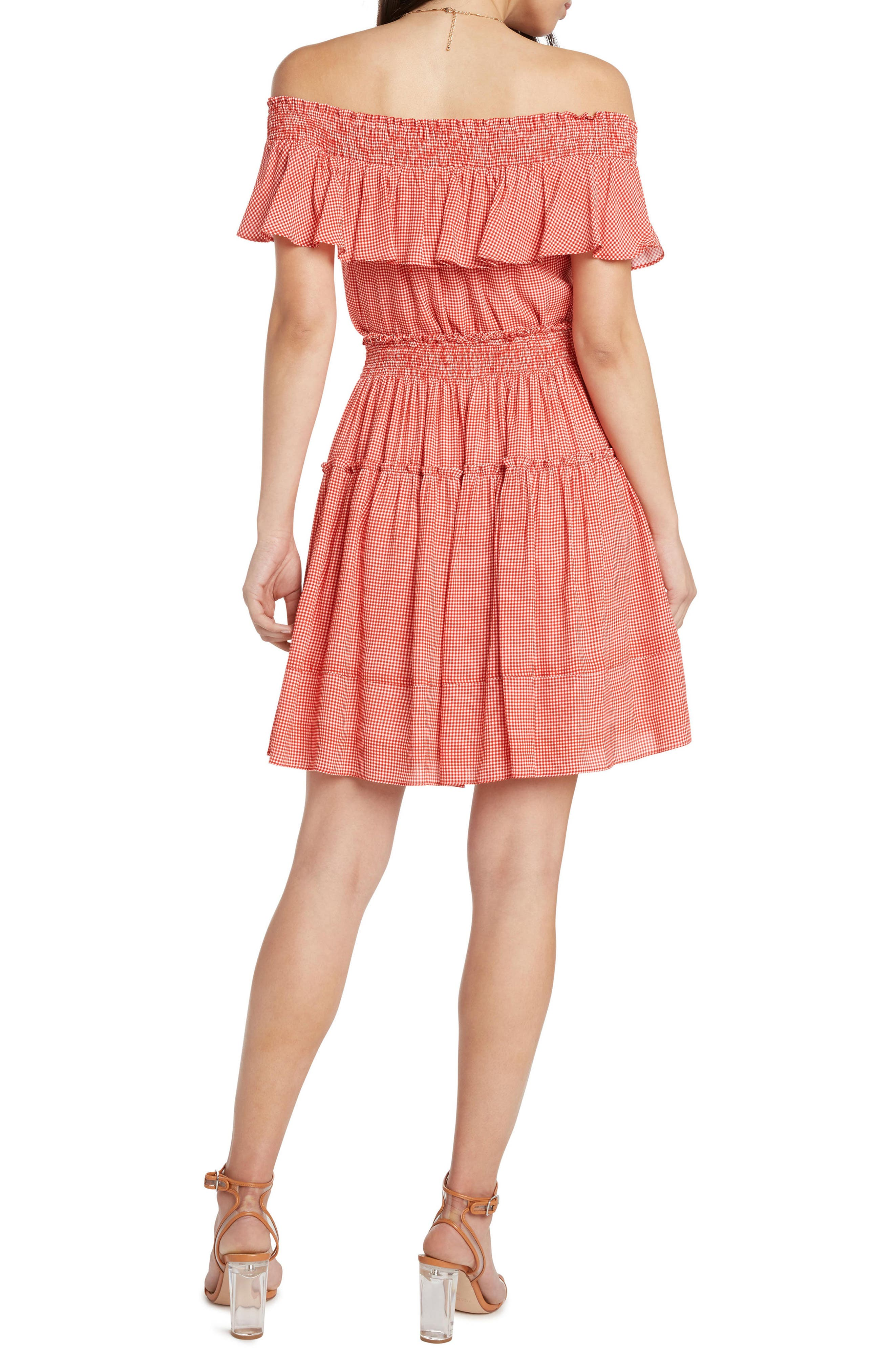 Gingham Smocked Off the Shoulder Dress,                             Alternate thumbnail 2, color,                             POPPY