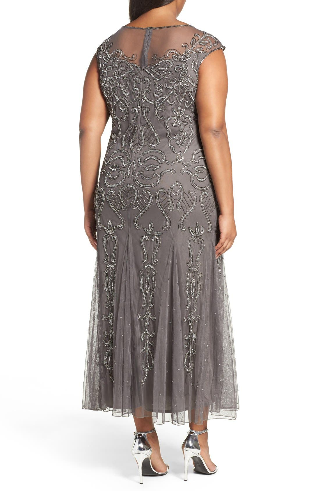 Illusion Neck Beaded A-Line Gown,                             Alternate thumbnail 19, color,