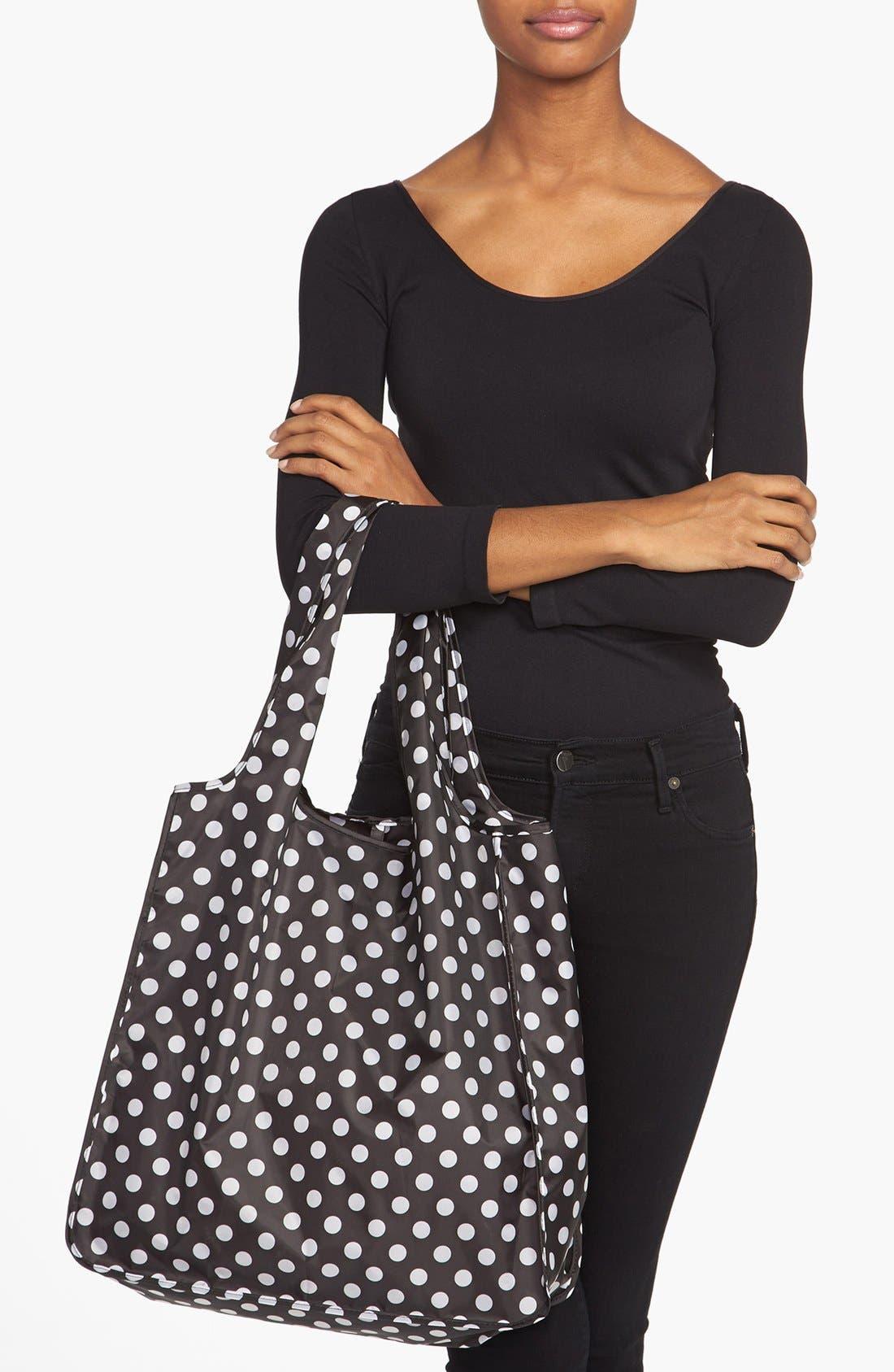 'polka dot' reusable shopping tote,                             Alternate thumbnail 3, color,                             001