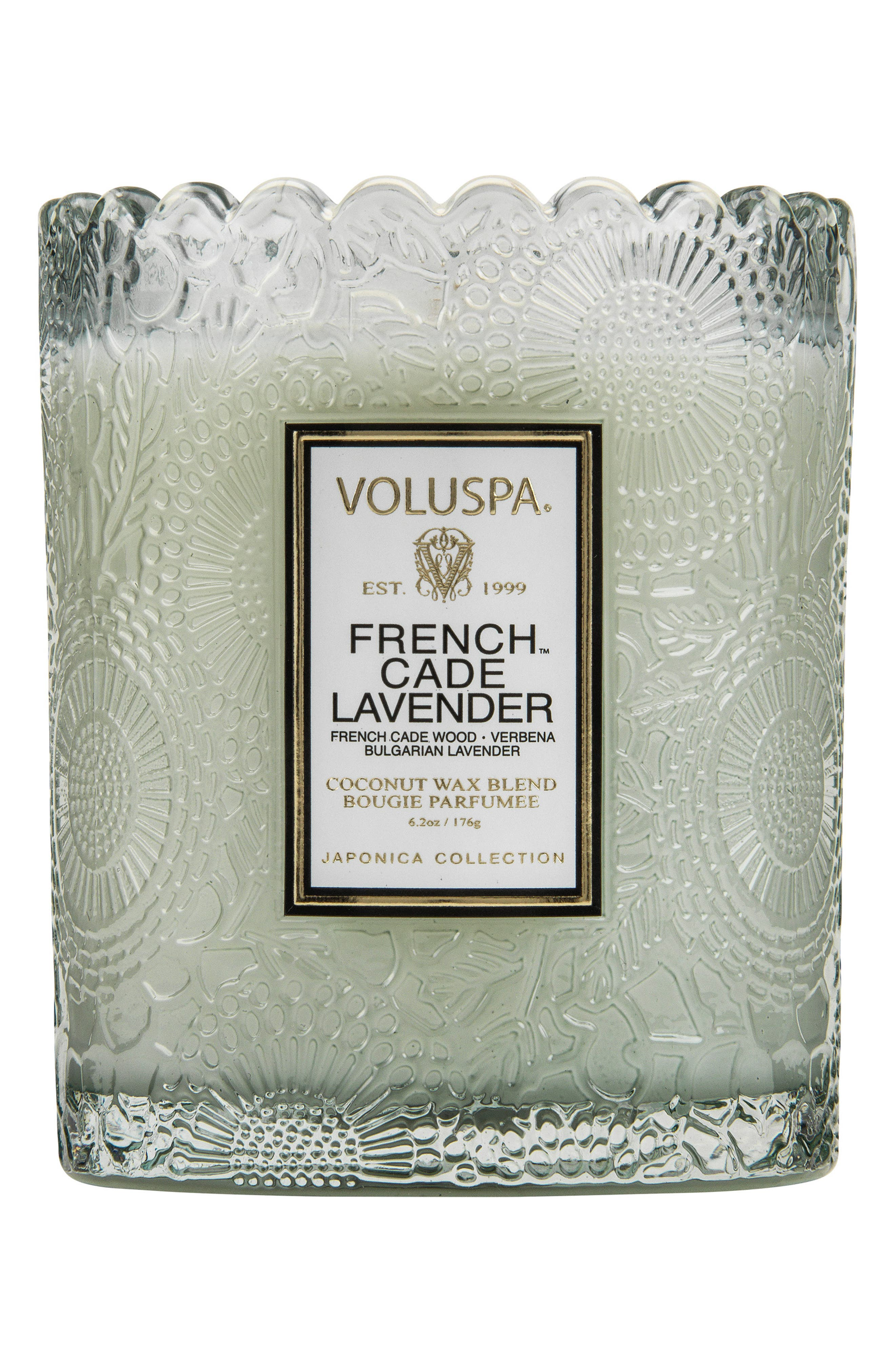 Japonica French Cade Lavender Scalloped Edge Embossed Glass Candle,                             Main thumbnail 1, color,                             NO COLOR