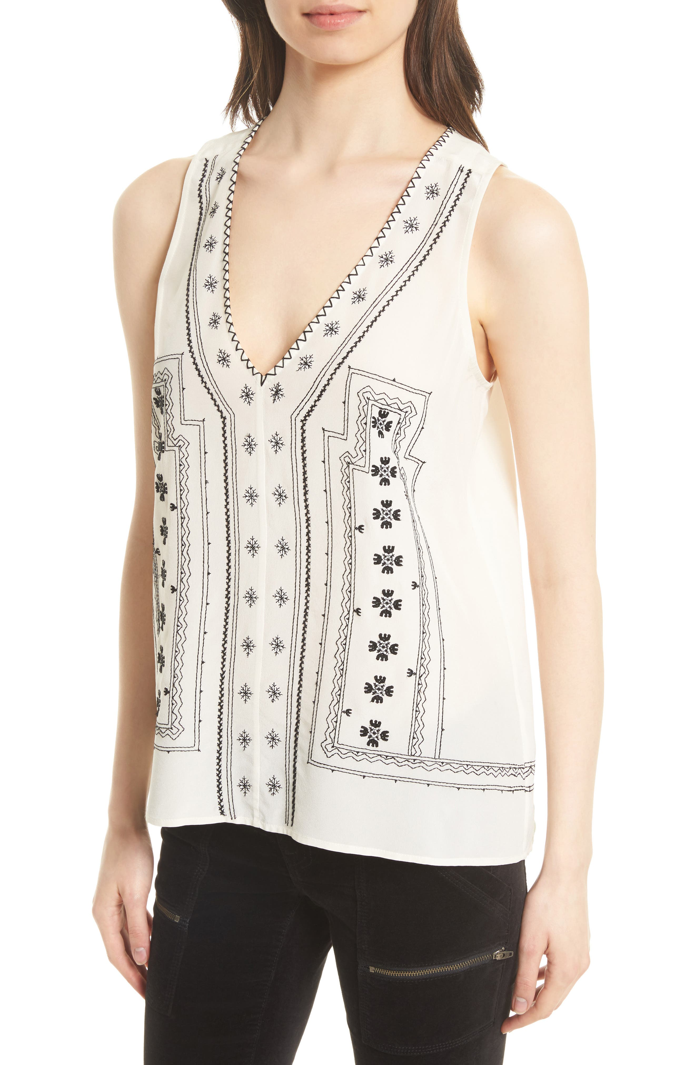 Merles Embroidered Silk Top,                             Alternate thumbnail 4, color,                             123