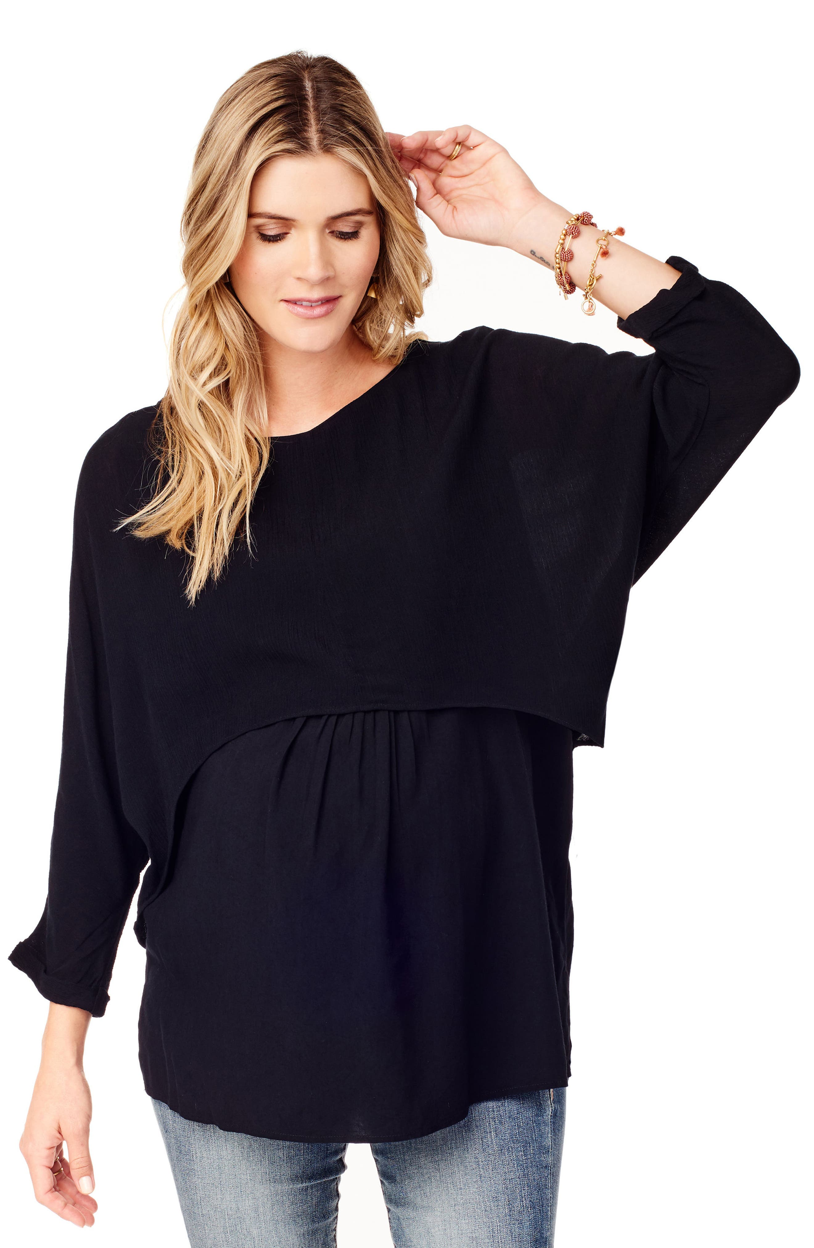 Double Layer Maternity/Nursing Top,                             Alternate thumbnail 4, color,                             JET BLACK