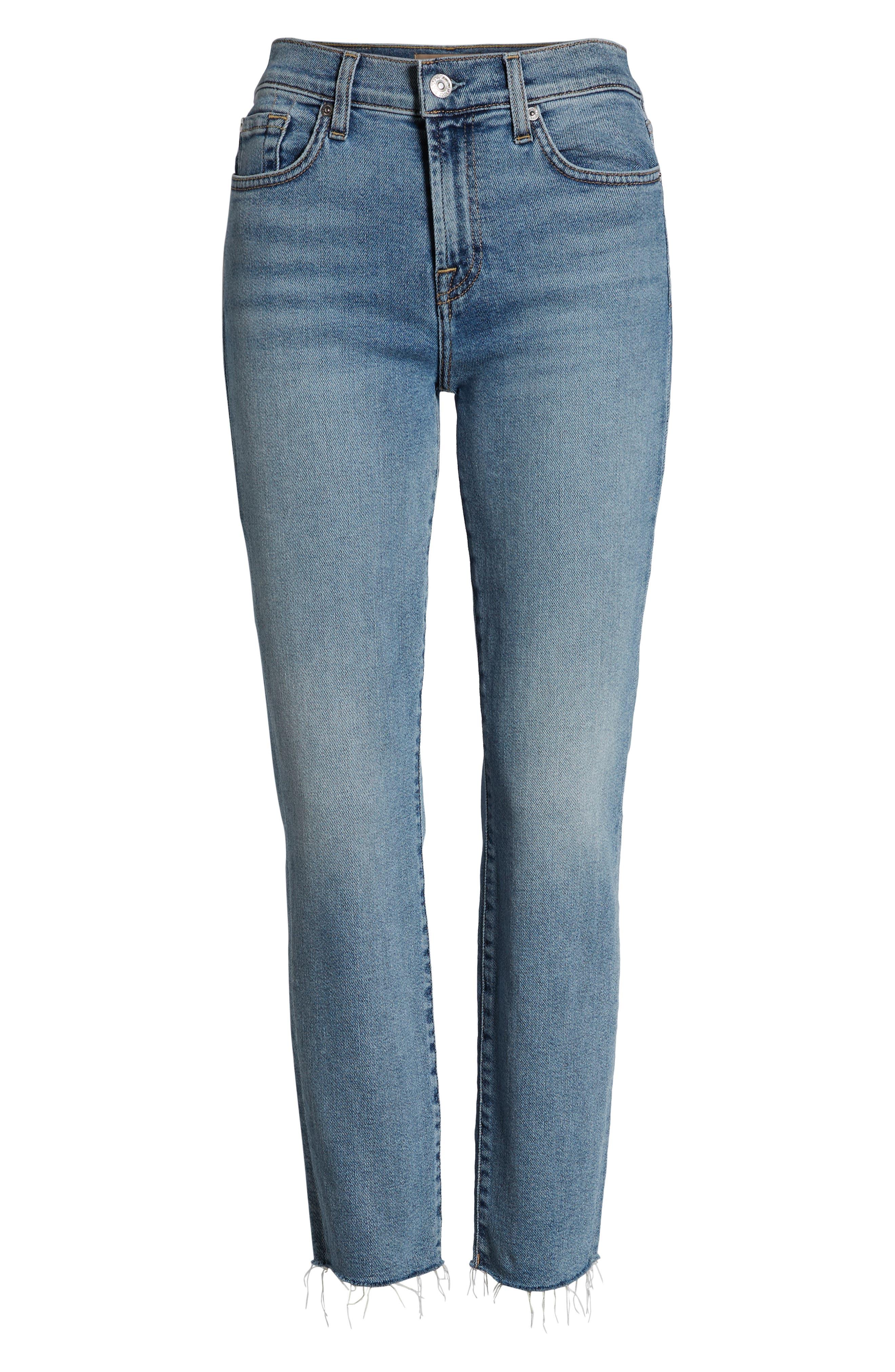 Roxanne Raw Hem Ankle Slim Jeans,                             Alternate thumbnail 7, color,                             403