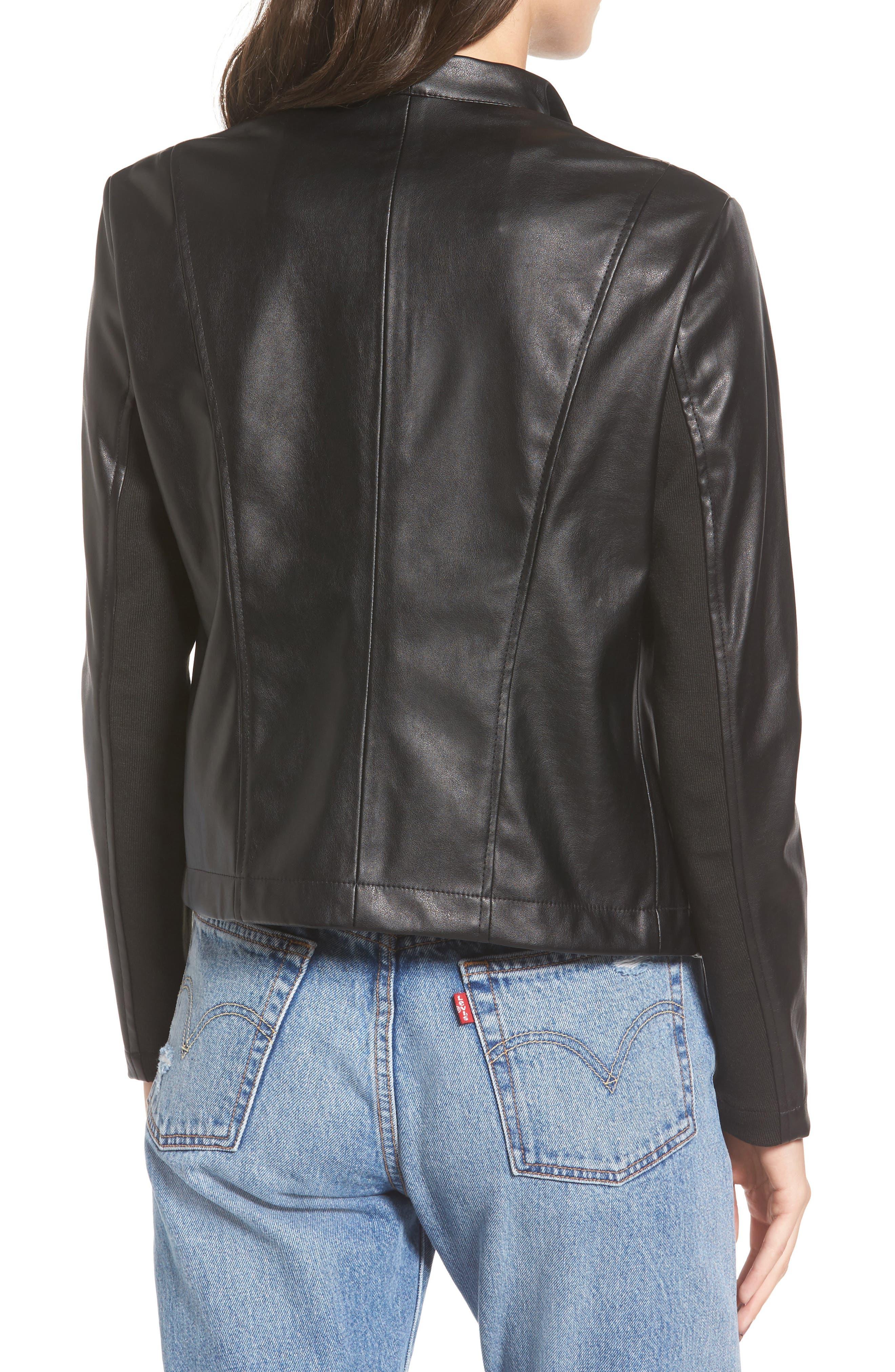 'Peppin' Drape Front Faux Leather Jacket,                             Alternate thumbnail 12, color,