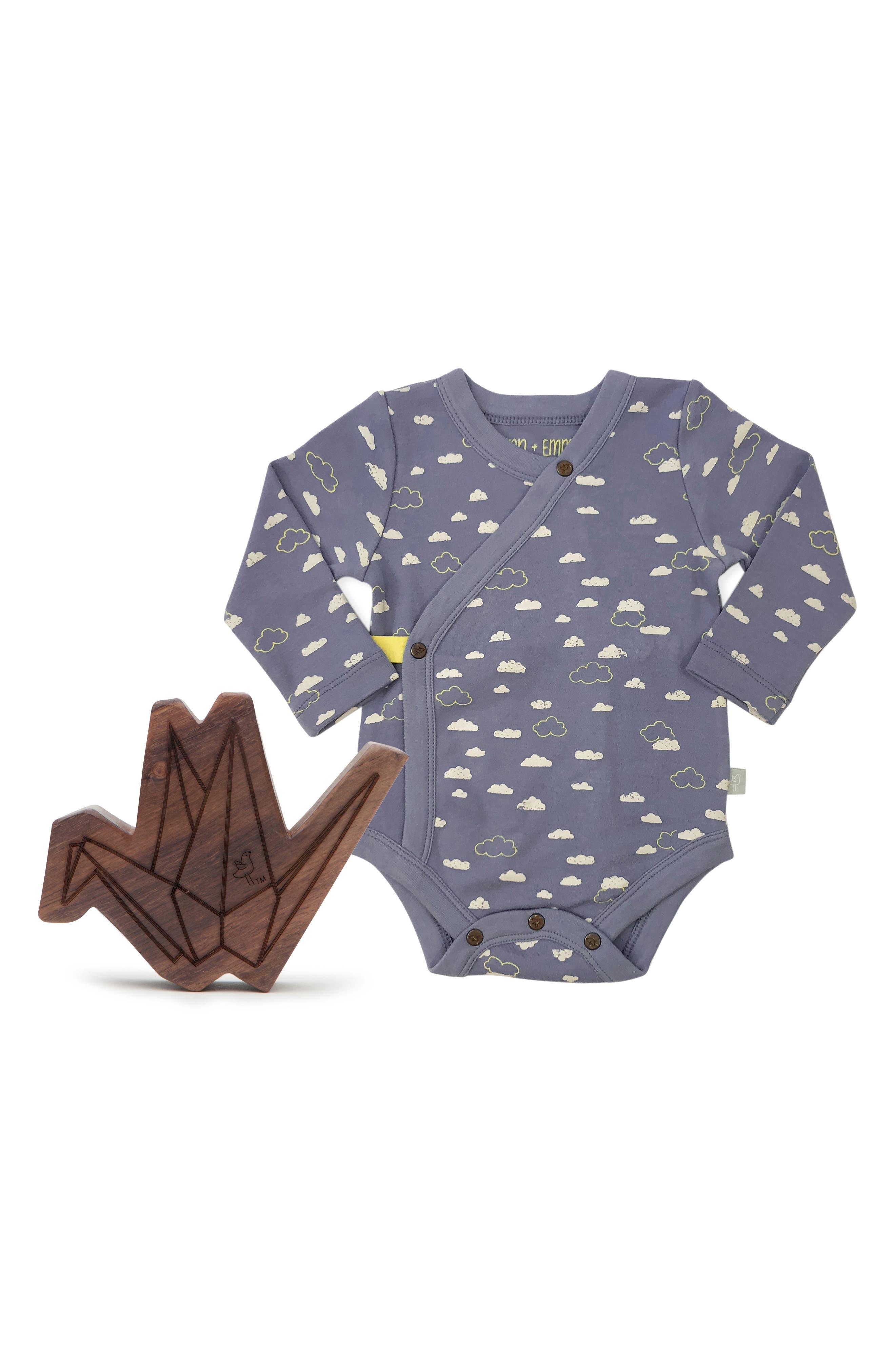 Clouds Organic Cotton Wrap Bodysuit & Origami Wood Teether Rattle Set,                         Main,                         color, BLUE