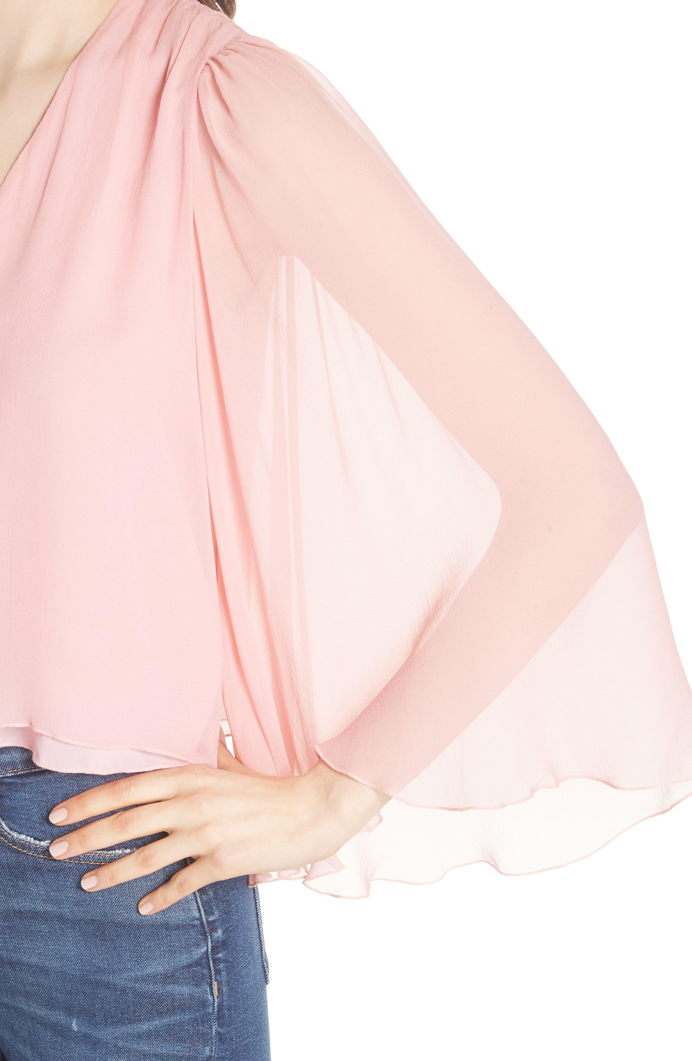 Jerrica Bell Sleeve Silk Blouse,                             Alternate thumbnail 4, color,