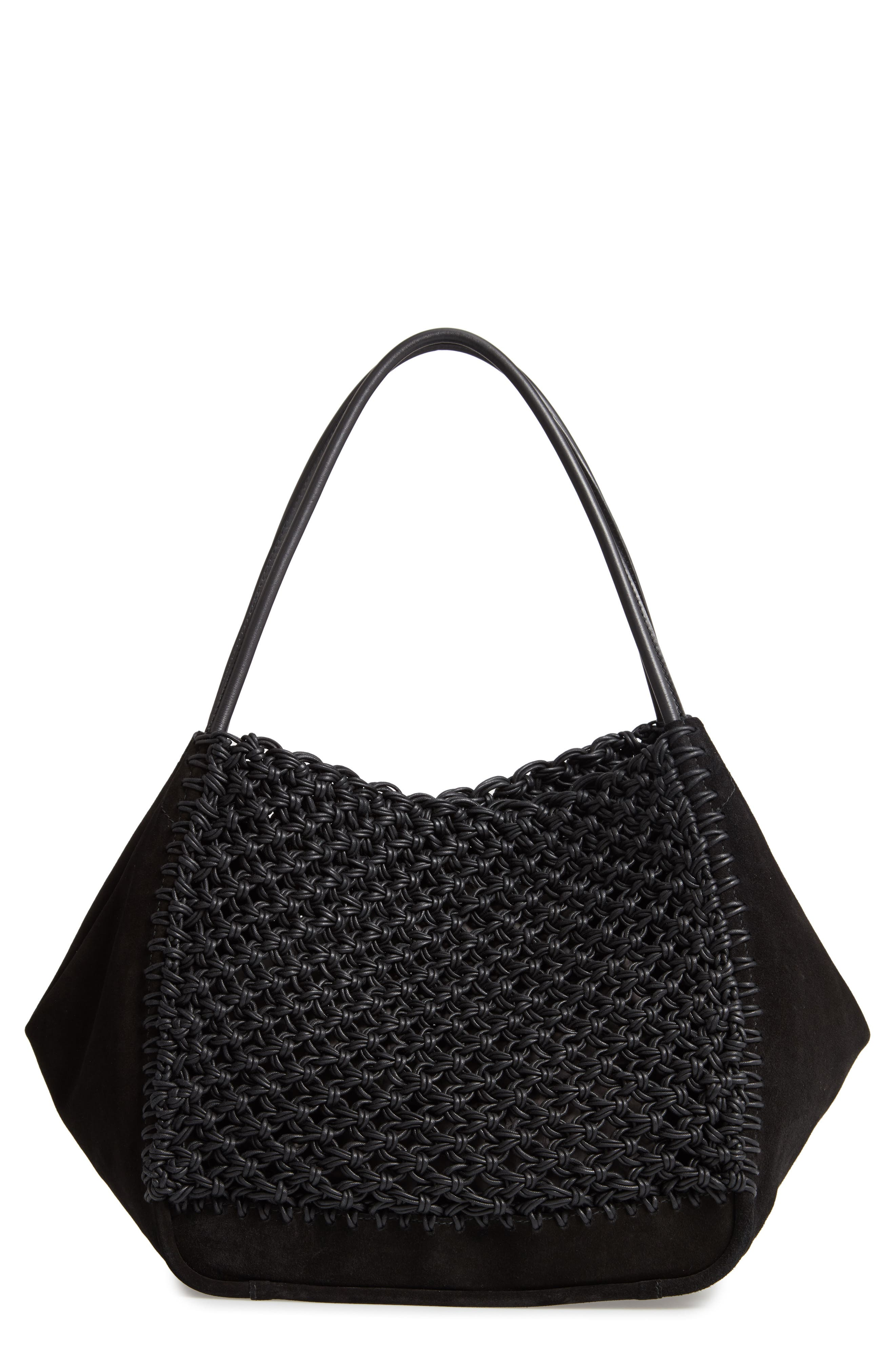 Large Macramé Tote,                         Main,                         color, BLACK/ BLACK