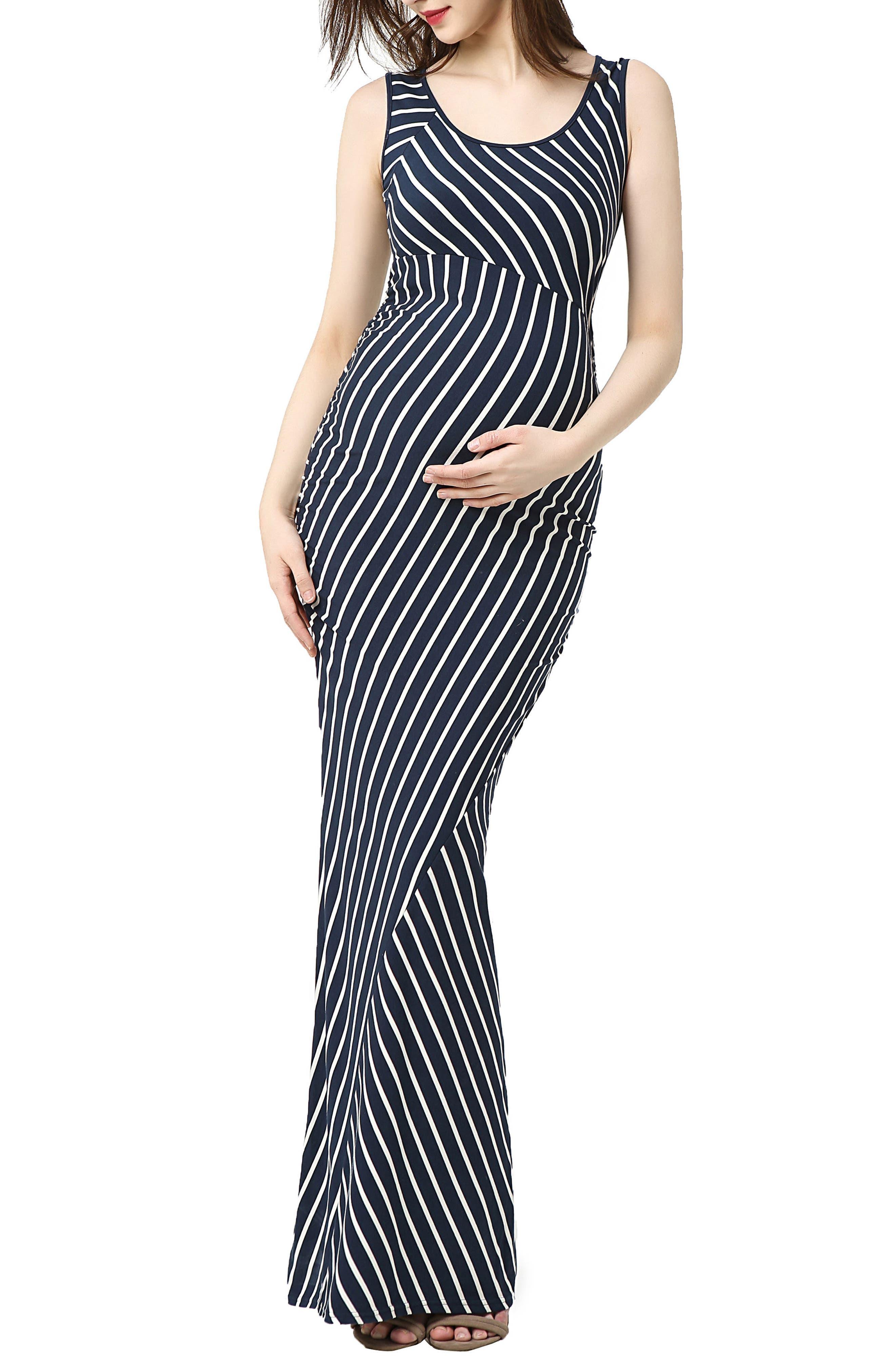 Kimi And Kai Peyton Stripe Maxi Maternity Dress, Blue
