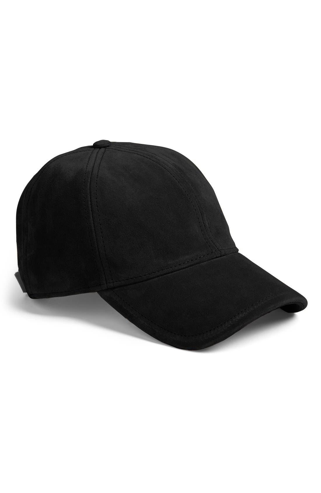 Marilyn Suede Baseball Cap,                         Main,                         color, BLACK
